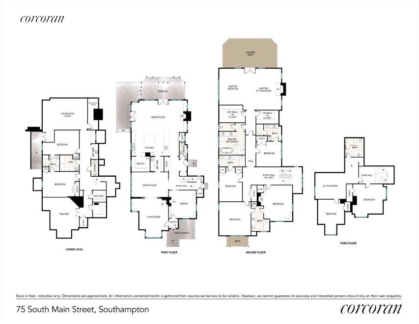 The Hamptons Real Estate | View 75 South Main Street | Floor Plans of Main House