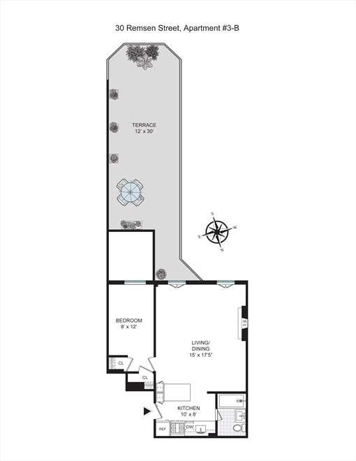 New York City Real Estate | View 30 Remsen Street, #3b | Floorplan