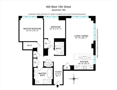 New York City Real Estate | View 400 West 12th Street, #16A | Floorplan