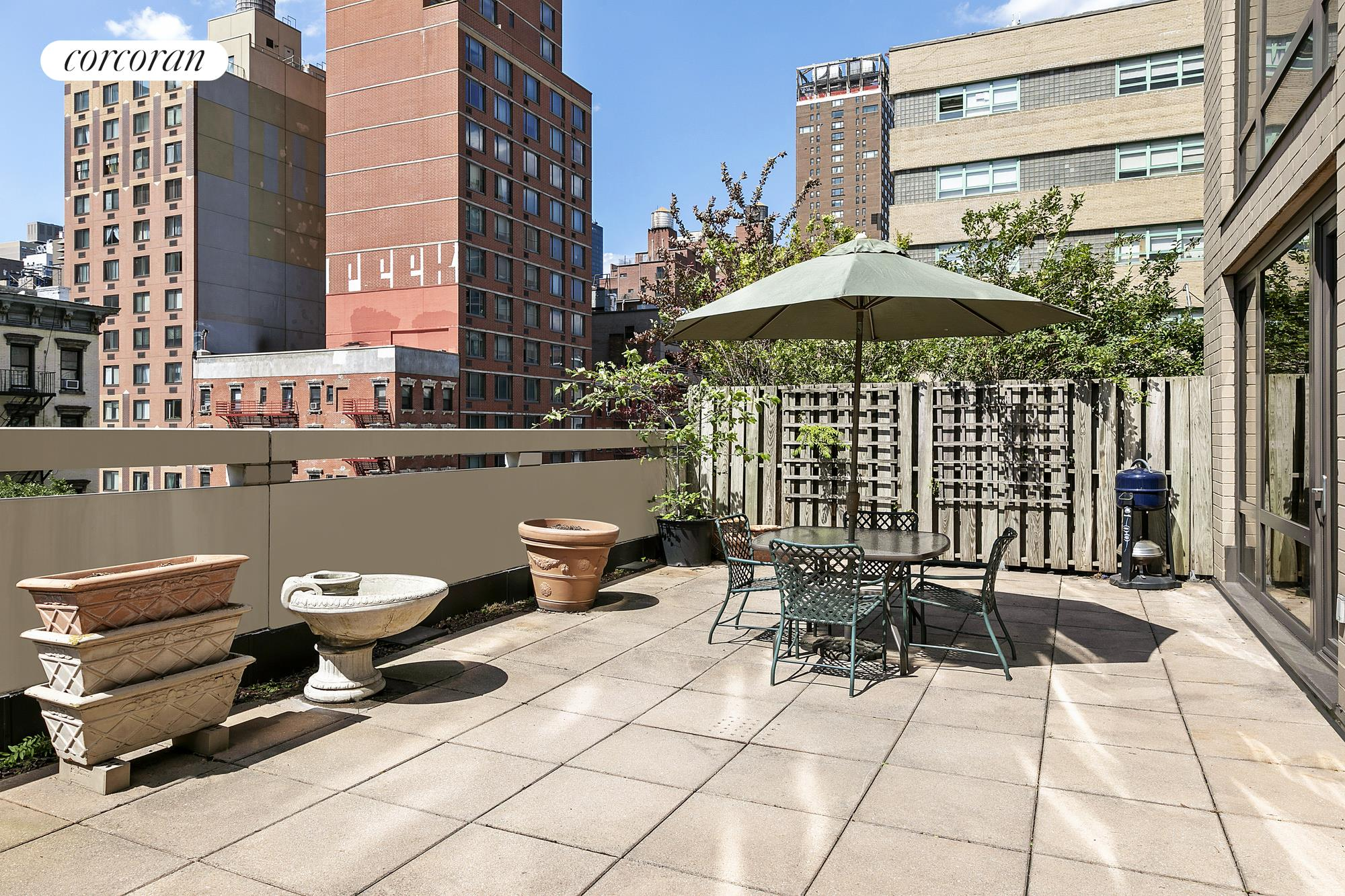 Welcome to this rarely available convertible two-bedroom, one-and-a-half-bathroom home with 710 square feet of private outdoor space. Located at Bridge Tower Place on the corner of 60th Street and 1st Avenue, this residence is one of only four apartments on the floor and provides a gracious 1,108 square feet of interior space.As you step into the entry foyer you are immediately welcomed by an abundance of natural light afforded to you by floor-to-ceiling windows with Western exposure. As an added bonus, the windows are already fully outfitted with automatic shades. Off the foyer, you will find the fully equipped kitchen, complete with stainless steel appliances and ample cabinet and counter space to meet all of your cooking needs. After passing through the kitchen's swinging doors, you will find yourself in a space that is currently configured as a full-sized dining room, but which has the added versatility of being converted into a second bedroom or home office. Located off the foyer is the powder room with a discretely hidden in-unit washer/dryer.After making your way through the generously proportioned living room with one of two entrances onto the outdoor terrace, you will enter the king-size master bedroom. In addition to a sizeable walk-in-closet, additional storage space is provided by attractive built-ins. The master bedroom has its own ensuite with a stall shower, separate soaking tub and large marble vanity.While the apartment interior is enough to entice the most discerning tenant, the real jewel of this unit is the large private outdoor terrace with plenty of room for custom planters and separate outdoor dining and living spaces. This is a true oasis in the heart of all that the East Side has to offer.Bridge Tower Place is a full-service condominium with a 24-hour doorman, separate landscaped roof terrace, state-of-the-art gym, kids' playroom, additional laundry facilities, in-building parking and resident super. Conveniently located at the intersection 