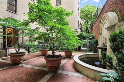 New York City Real Estate | View 1349 Lexington Avenue, #9C | Stylish landscaped courtyard with fountain