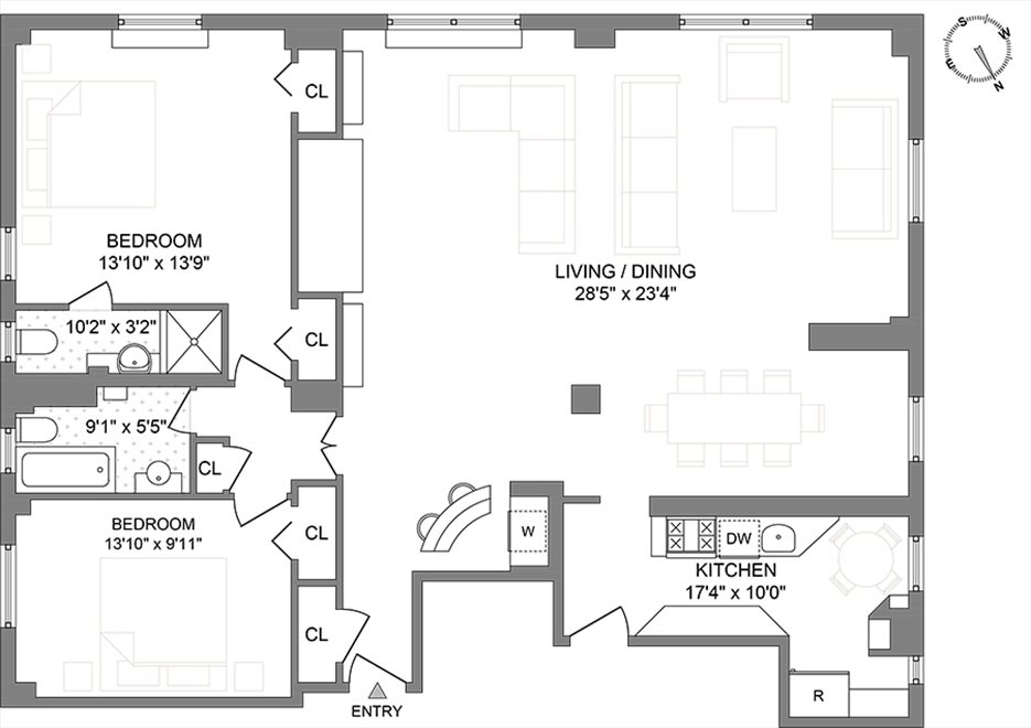 New York City Real Estate | View 138 East 36th Street, #8C | Floorplan 1