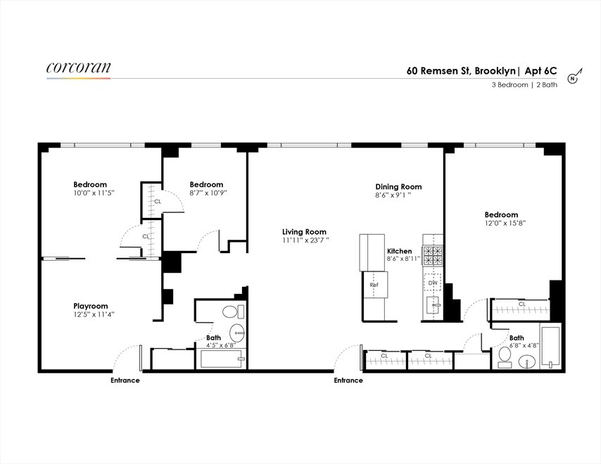 New York City Real Estate | View 60 Remsen Street, #6CD | Floorplan