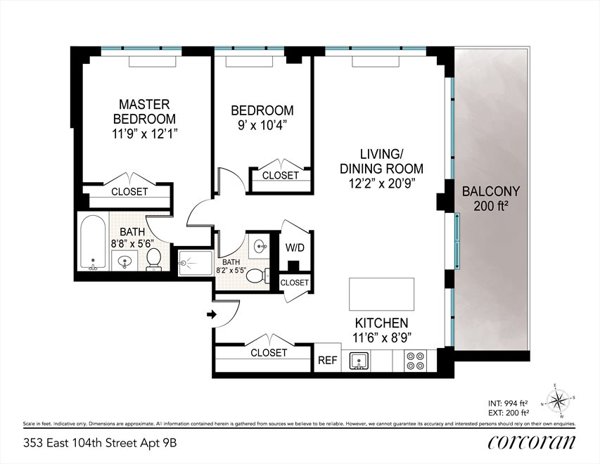 New York City Real Estate | View 353 East 104th Street, #9B | Floorplan