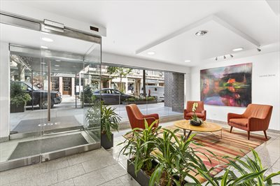 New York City Real Estate | View 350 Bleecker Street, #4U | Renovated Lobby w Art Gallery