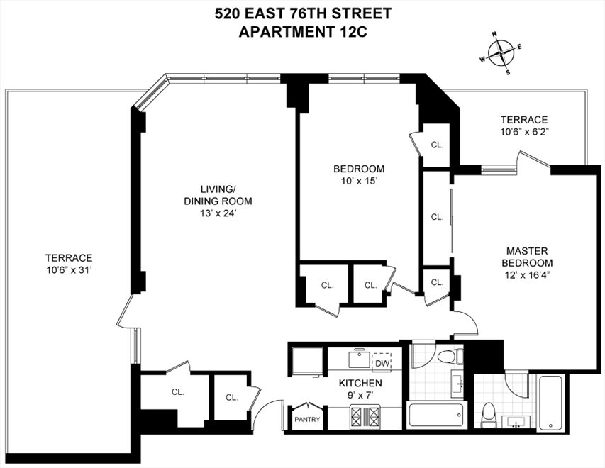 New York City Real Estate | View 520 East 76th Street, #12C | Floorplan