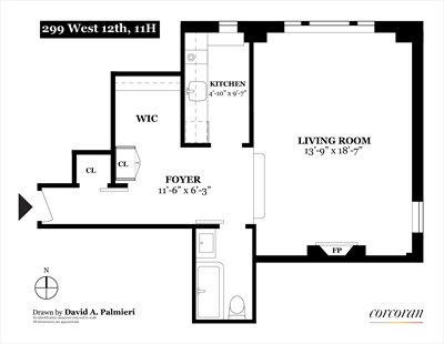 New York City Real Estate | View 299 West 12th Street, #11 H | Floorplan