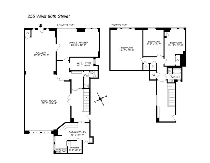 New York City Real Estate | View 255 West 86th Street, #Duplex | Floorplan
