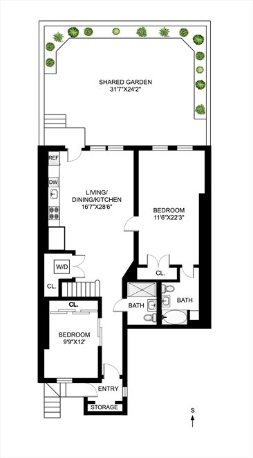 New York City Real Estate | View 838 Carroll Street, #Garden | Floorplan