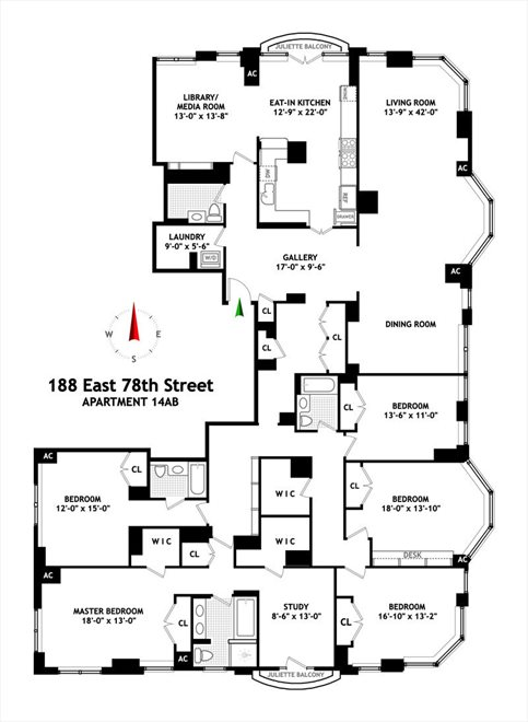 New York City Real Estate | View 188 East 78th Street, #14AB | Floorplan