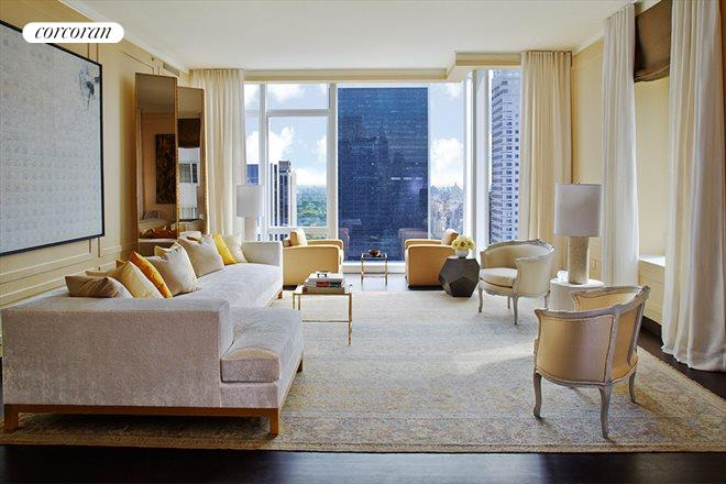 20 West 53rd Street, 35A, Light-filled living with floor-to-ceiling windows