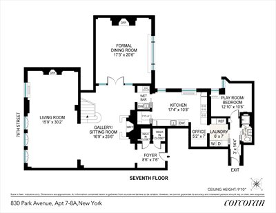 New York City Real Estate | View 830 Park Avenue, #7-8A | Floorplan 1