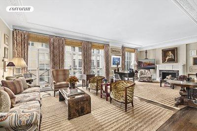 New York City Real Estate | View 830 Park Avenue, #7-8A | 30 Ft LR w 3 French Door Floor-Ceiling Windows