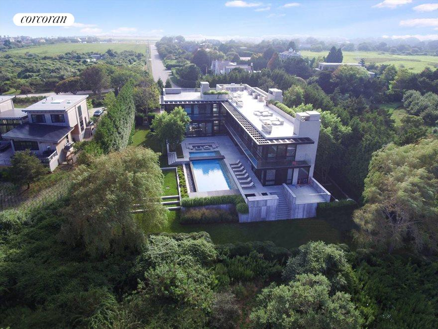 The Hamptons Real Estate | View 142 Crestview Lane | rear aerial view