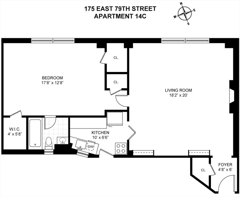 New York City Real Estate | View 175 East 79th Street, #14C | Floorplan