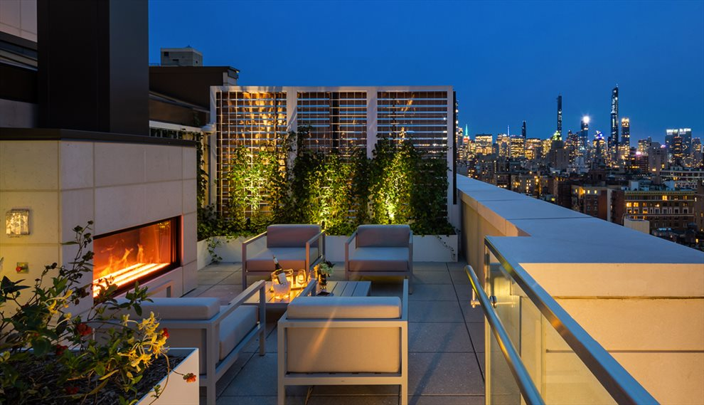 New York City Real Estate | View 1289 Lexington Avenue, #11D | Roof Terrace with Fireplace and and Stunning Views
