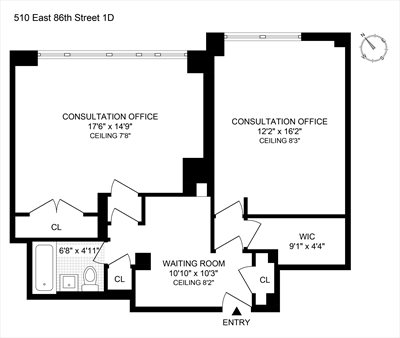 New York City Real Estate | View 510 East 86th Street, #1D | Floorplan 1