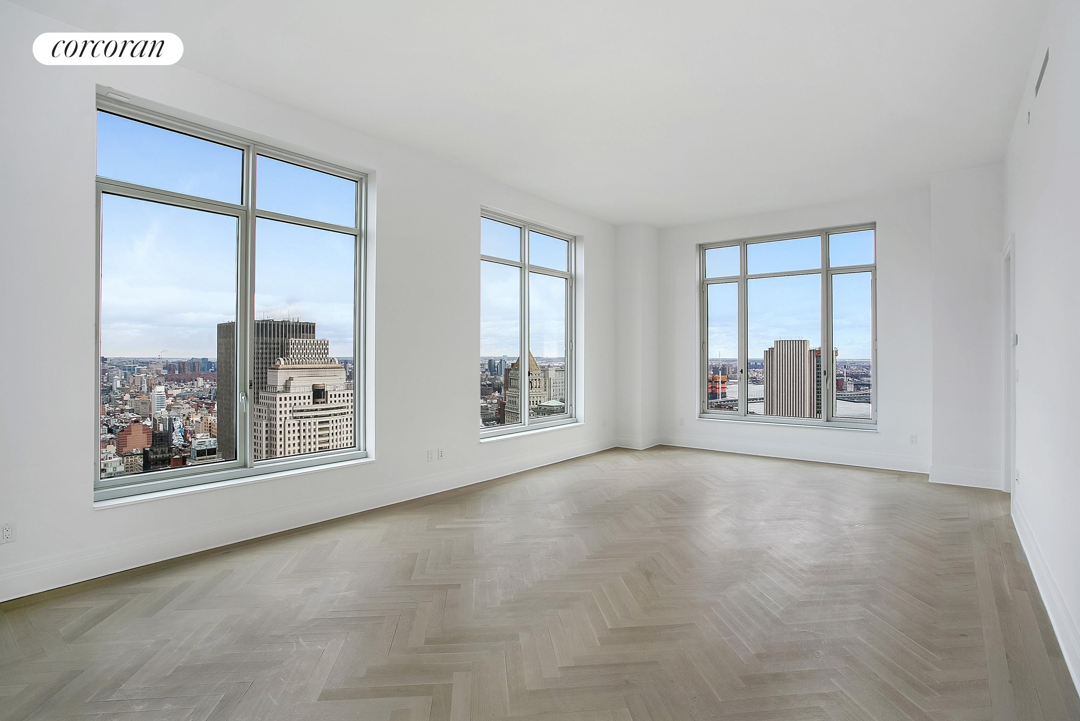 NO BROKER'S FEE! This 3 Bedroom 3.5 Bathroom residence sits on the northeast corner enjoying sweeping views of the Midtown skyline and East River. A windowed Eat-In Kitchen complements the Living/Dining Room. The Master Bedroom Suite , generous closet space, and a 5-fixture bathroom. Welcome to 5-star living at 30 Park Place, Four Seasons Private Residences New York, Downtown. Developed by visionary Silverstein Properties, Inc., masterfully designed by Robert A.M. Stern Architects, and serviced by legendary Four Seasons Hotels and Resorts. With residences beginning on the 39th floor, the sweeping views are unparalleled. Residents may enjoy access to Four Seasons Hotel amenities including a spa and salon facilities, 75' swimming pool, attended parking garage, restaurant, bar and lounge, ballroom facilities, and meeting rooms, as well as a comprehensive suite of a la carte services. The 38th floor is devoted to private residential amenities including a fitness center and yoga studio, private dining room, conservatory and lounge with access to loggias, Roto-designed kid's playroom, and screening room. Interior finishes include solid oak wood flooring with herringbone pattern in the formal rooms, Bilotta rift-cut oak kitchen cabinetry, Gaggenau appliances, and marble bathrooms with Robert A.M. Stern custom-designed vanities.