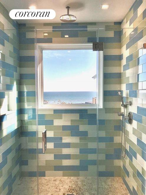 The Hamptons Real Estate | View 23 Fairview Road | master shower with a view