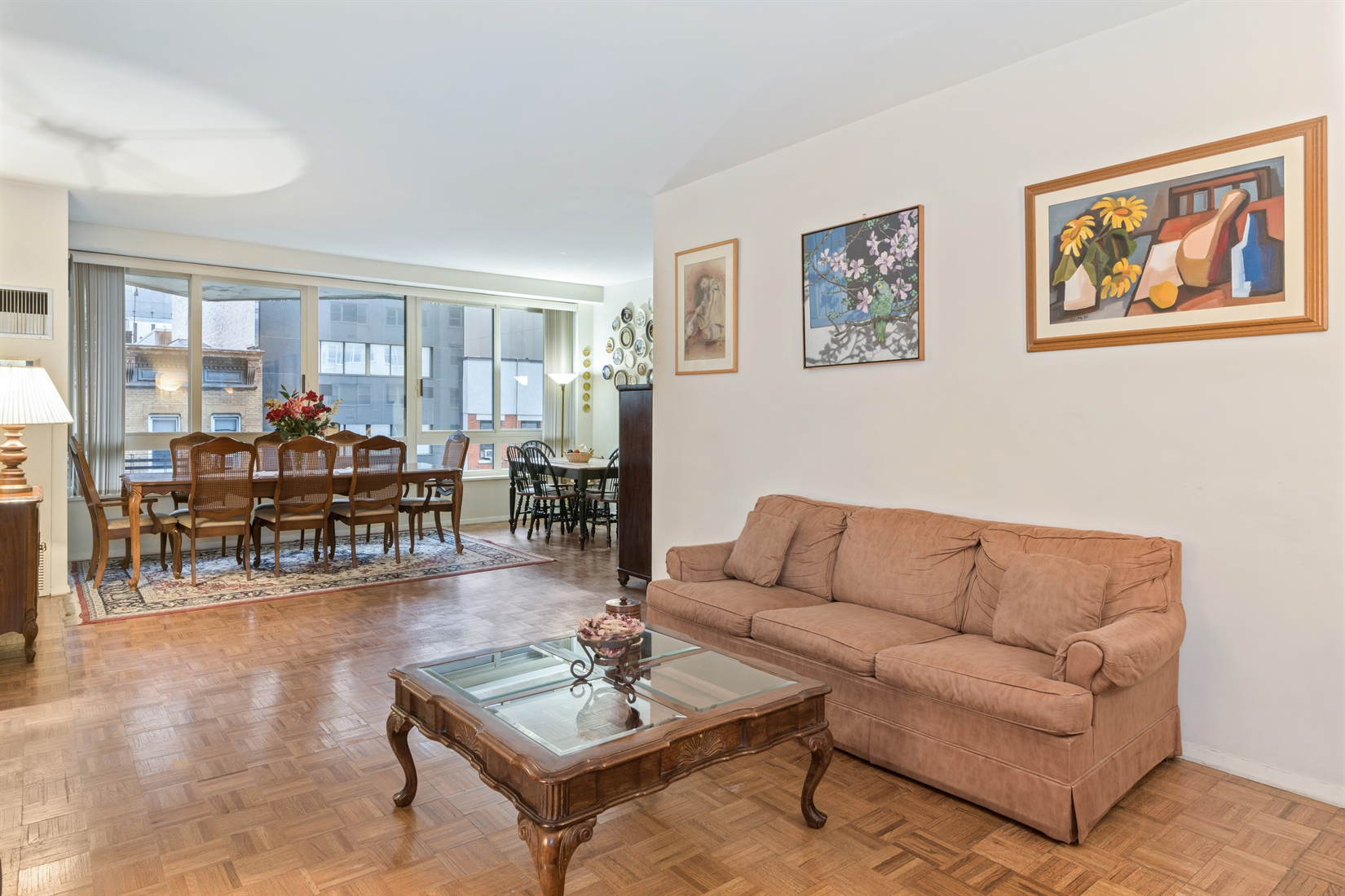 Fantastic buying opportunity for this 2 bedroom, 2.5 bathroom apartment at 100 United Nations Plaza, one of Midtown East's premier white-glove condominium buildings.Measuring approximately 1,321 square feet, unit 6E is ready for your personal touch. Representing an incredible value, this wonderful home features a sizeable living room and dining alcove, windowed kitchen and two bedrooms, each with its own en suite bathroom. The living and dining room will effortlessly accommodate multiple seating arrangements and dining for at least 8 people. This flexible and spacious layout is ideal for day-to-day living and large enough for hosting intimate gatherings at home. The windowed kitchen has a Sub Zero refrigerator and dishwasher, along with ample counter and storage space.The north-facing primary bedroom suite is pin-drop quiet and has an en suite marble bathroom with whirlpool bathtub with an extra-wide vanity. There is also a large walk-in closet. Equally as spacious is the south-facing second bedroom with a large floor-to-ceiling closet and an en suite marble bathroom with soaking bathtub. Additional features include oversized windows, central heat and A/C, and a guest powder room.Located on East 48th Street and First Avenue, 100 United Nations Plaza is a white-glove, full service condominium in Manhattan's Turtle Bay neighborhood. Greeting residents with beautifully landscaped gardens and waterfalls, this impeccably run building offers a 24-hour doorman, valet and concierge service, on-site management office, renovated lobby and resident's lounge, common laundry room, fitness center and direct access to a 24-hour attended parking garage. Conveniently located to transportation and many great shops and restaurants. Condominium application required.Showing by appointment only.