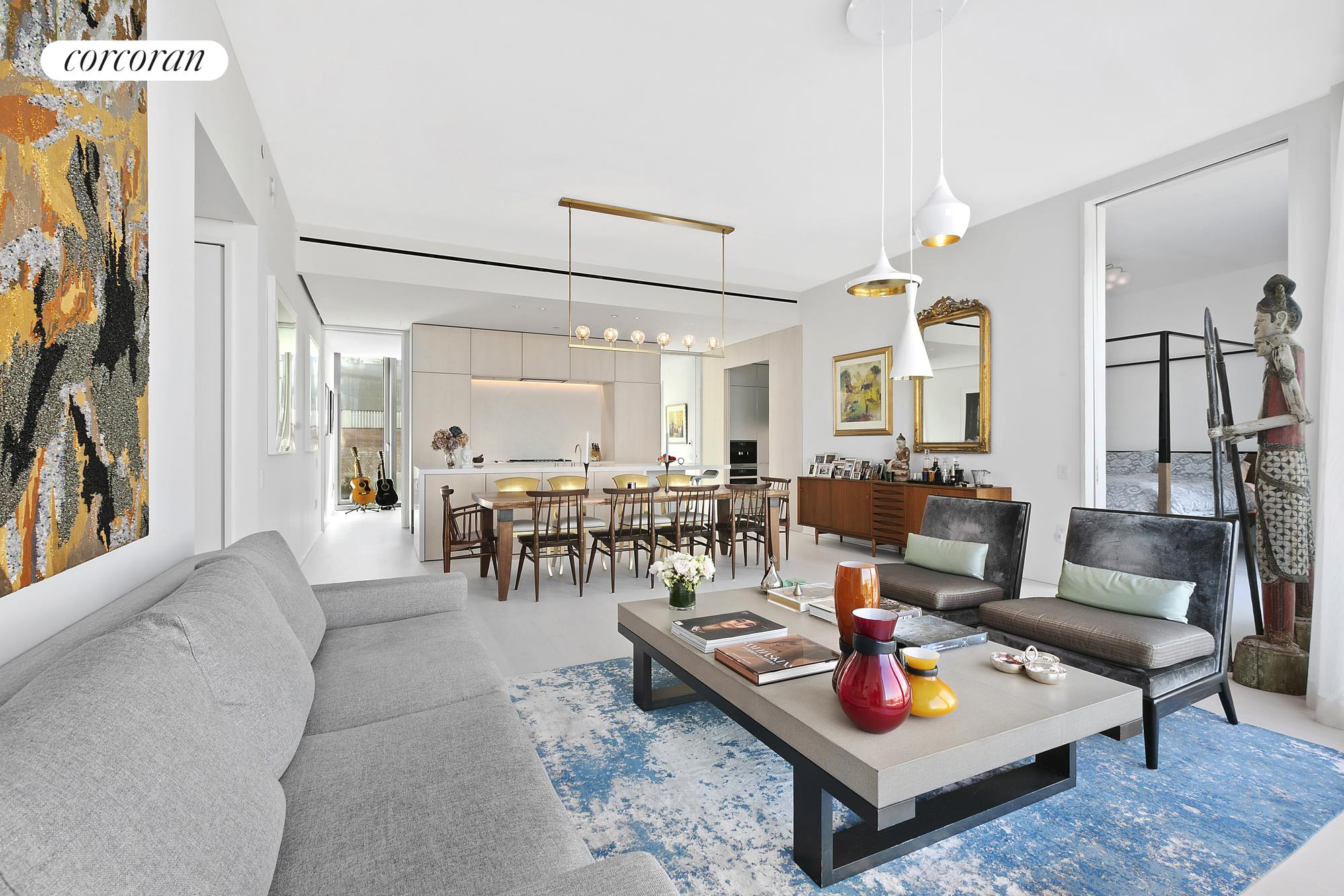 Situated along the Hudson River waterfront in the West Village, this stunning home is the one-of-a-kind, inspired by a collaboration from renowned hotelier/real estate developer, Ian Schrager, and designed by Pritzker Prize winning architects, Herzog & De Meuron.160 Leroy Street North 5A is an approximately 2,046 square foot, 3 bedroom, 3.5 bathroom home with North, West and East exposures with sweeping Hudson River views and Sunsets. This home is beautifully proportioned and perfectly situated in the north tower of the building. Enjoy tons of light and breathtaking views through the 11' floor-to-ceiling windows, and an open floor plan that accommodates gracious living and entertaining while offering an abundance of wall space for art.Thoughtfully designed with two kitchen elements, the top of the line kitchen features Scandinavian Larch wood cabinets, Sivec marble slab countertops and backsplash with appliances by Wolf, Gaggenau, Sub-Zero, and Miele. North 5A includes a separate enclosed Bulthaup Chef's kitchen with Sub-Zero and Wolf appliances including a refrigerator/freezer, wine refrigerator, steam oven, microwave oven, and a coffee/espresso machine.Beyond the Great Room, you will enter the spacious Western facing primary suite with en-suite spa bathroom adorned with Sivec marble, a Kaldewei soaking tub, heated floors, and a custom-designed shower. The second bedroom has stunning views of the garden, and an en-suite bathroom.The 3rd bedroom with en-suite bathroom has the flexibility to convert into a library or media room; with its pocket doors concealed, the space flows into the living space, providing simultaneous East and West exposures.The stunning powder room is clad in floor to ceiling Scandinavian Larch wood with a custom floating vanity and brushed copper fixtures.Ideally located in the heart of the West Village, 160 Leroy is a full-service building with a concierge, a 24-hour doorman, and luxurious amenities, complete with a cobblestone porte-cochere, 