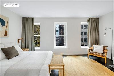 New York City Real Estate | View 111 Saint Felix Street | Master Bedroom w. 3 Massive Windows