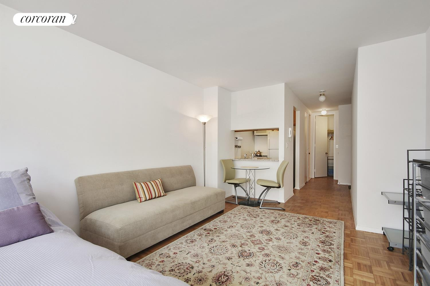 "Residence 12A is a fully furnished renovated corner studio with open bright, sunny, city views to the North and the midtown skyline views to the East and South. Pass-thru kitchen with new appliances, countertops, and cabinets. Nice walk in closet plus a linen closet and a large coat closet. The building has a live-in Resident Manager and the amenities include 24-hour Concierge, doorman, eight laundry rooms, and a ""Resident's only"" courtyard.Connected to the building is a 40,000 sq. ft. new ""Elite Sports Club"" gym with the latest technology, 25-meter saltwater pool, sauna, exercise studio and virtual reality spin room with an immersive 30-foot video wall. Monthly and annual memberships available. The Residences at Worldwide Plaza is a full-service condominium ideally located in the heart of the vibrant Manhattan's theater district and the Midtown Financial District, close to Central Park, Lincoln Center, the Hudson River Park, Rockefeller Center, St. Patrick's Cathedral, numerous restaurants, museums and points of interest. The garage on the premises is available to residents for a nominal fee.Minutes to the C, E, 1, W, N, R, B, D, F, and M subway lines and cross-town buses No smoking please no pets."