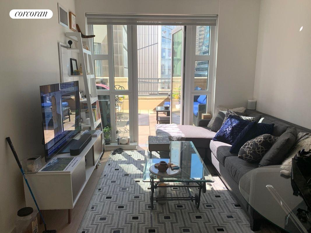 Incredibly unique and underprice 1 Bed 1 Bath with a massive 7th-floor terrace overlooking the Hudson River, Hudson Yards, and the Highline. You will be the second to live in this apartment as I have been here since the building opened. The unit has top of the line appliances, an in-unit washer-dryer, 3 very large closets, tons of random storage space and the building is one of the most incredible in NYC.  The bedroom can easily fit a queen-size bed, 2-night tables, and a full dresser and has 2 full size double wide and deep closets.  The living room can fit a large couch, media unit, full-size dining table, standing desk, bar cart, and more. Where the standing desk is located, the tenants previously had bar stools for the kitchen counter.Abington house has a full gym in the basement, a massive rooftop overlooking all of Manhattan, a grill terrace with multiple BBQs, a 25M lap pool, a bowling alley, a full-size basketball court, a steam room, a sauna, jacuzzi, full spa all of which are open. When you don't want to venture outside the apartment enjoy your stunning personal patio (one of only 5 in the building) staring out at the Hudson River, the westside heliport, the Highline, all of Hudson yards, and the empire state building.During Covid, the current tenant has turned this into their home office, and they host friends and family as it's a safe and incredibly unique space. The building also has a partnership with Hudson Yards where you have our own personal Covid Testing Center, access to events throughout all of HY, weekly free offers at restaurants such as Milos and the Tavern, the building really just does an incredible job taking care of its tenants (and the staff here is above and beyond).