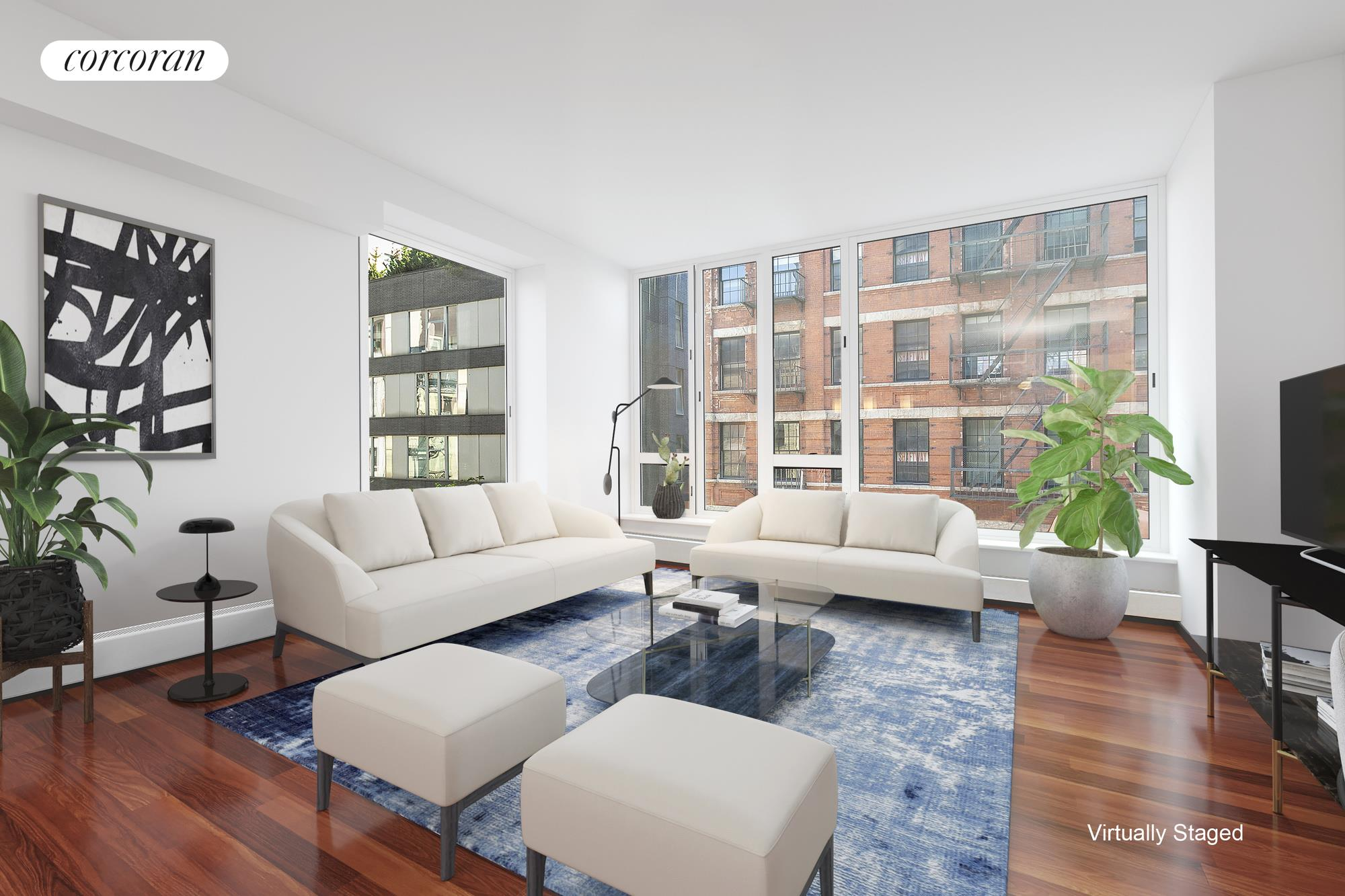 """Apartment 4E at 505 Greenwich Street is an inviting home with modern conveniences and low carrying costs in the heart of Hudson Square. Upon entry, you step into a long, gracious foyer with a walk-in coat closet. The spacious living/dining room, measuring at 26'4"""" x 16'7"""", with both northern and eastern exposures, has lovely views of the prewar red-brick lofts across Renwick Street. The stunning open chef's kitchen features a Sub-Zero refrigerator, Bosch dishwasher, Viking stainless steel range, wine refrigerator, built-in microwave, custom Tanzanian Angire wood cabinetry and gray slate countertops, and an Italian green glass backsplash. Every room in the apartment has been custom-painted by the renowned muralists, Atelier Sineux Frères. The lovely oversized, north-facing master suite features two closets and an ensuite bath with Pietra Bedonia marble floors, cherry cabinets, and a Kohler soaking tub. The queen-sized, north-facing second bedroom is spacious and includes a large walk-in closet. The second bath, just across the hall from the second bedroom, has porcelain tiling, glass accents, and a tub and shower. A laundry room with ample built-in storage is conveniently located in the foyer. Central A/C. A storage unit conveys with the apartment.505 Greenwich Street, designed by Gary Handel & Associates and built in 2004, is a coveted and thoughtfully designed 14-story condominium in Hudson Square. Building amenities include a 24-hour doorman, fitness center, pet spa, a bicycle room, storage for each unit, and an interior courtyard for residents. 505 Greenwich Street is easily accessible to Soho, Tribeca, and the West Village. Hudson River Park, with its running paths, bike paths, green spaces, and gorgeous west-facing views, is just two blocks away. The 1 and ACE trains at Canal Street, as well as the CE trains at Spring Street, are just a few blocks away."""