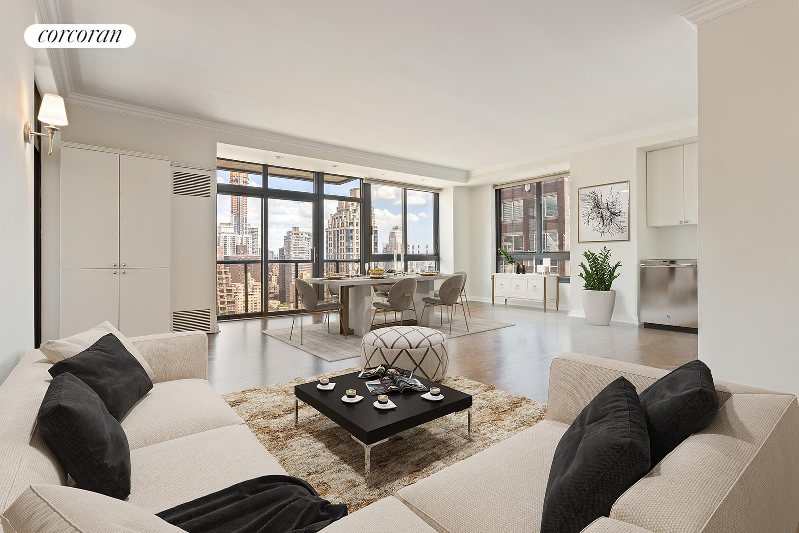 Pristine and Renovated with stunning views for this massive 1 bedroom.Wraparound Terrace – NYC Skyline Views over Midtown facing North & East completely unobstructed from 30th Floor. Fabulous 1250 Sq. Ft. Extra Large 1 Bedroom with an abundance of outfitted closets. Separate home office area tucked away in living room corner with internet access and built-in storage.Renovated Kitchen with brand new range and cabinets to the ceiling. All closets fully outfitted with storage to create this ideal turn-key residence.Primary bathroom features oversized jetted bathtub and separate stall shower. Powder room just off living room for privacy & convenience.New wood floors throughout give a warm luxurious aesthetic and compliment the floor to ceiling Sliding Glass doors to terrace producing wall to wall skyline views.Pet Policy: 1 dog under 50 pounds for tenants as per condominium rules.Broker fee paid by tenant