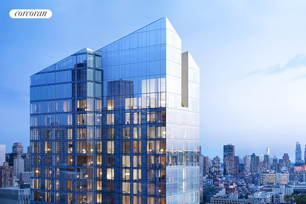 20-Year 421a Tax Abatement. CLOSINGS UNDERWAY  This elegant three-bedroom, three-and-a-half-bathroom residence at Waterline Square sits on the northwest corner of the tower. Enter the living and dining rooms through a gracious and generous foyer to enjoy expansive floor to ceiling views of the Hudson River toward the George Washington Bridge and beyond. Views to the west offer sunset views. The well-appointed windowed kitchen provides a perfect setting for casual dining around a comfortable center island, while the spacious living room and dining room provide a perfect space for entertaining.  Bedrooms are neatly tucked away to give rise to a quiet setting when needed.   The collaborative design firm of Yabu Pushelberg honors the pride and scale of the exterior with interior choices predicated on permanence. Custom Italian kitchens by Scavolini celebrate the individual and discerning tastes of each resident. Outfitted with Gaggenau appliances and punctuated by polished chrome Dornbracht fixtures, each kitchen will supply fully-vented range hoods, wine refrigerators and garbage disposals. Residents will also enjoy a fully-vented dryer. Each bathroom is cradled in a bespoke and indulgent array of stone and wood cabinetry.  Private condominium amenities, located on the 18th Floor, include a private 22-seat dining room with catering kitchen, lounge with river-view balcony, media room, billiards table and bar, great room with fireplace and access to a fully furnished and landscaped 3,700sf sundeck with two outdoor kitchens.  Two Waterline Square is designed by Kohn Pedersen Fox Associates, known for their distinctive majestic towers around the world, and is situated on the northeast expanse of Waterline Square. With a cascading facade that sweeps from the west down to the east, Two Waterline Square is perfectly positioned in the sky to honor its riverfront location with views towards the George Washington Bridge and the surrounding city landscape as elongated as its faça