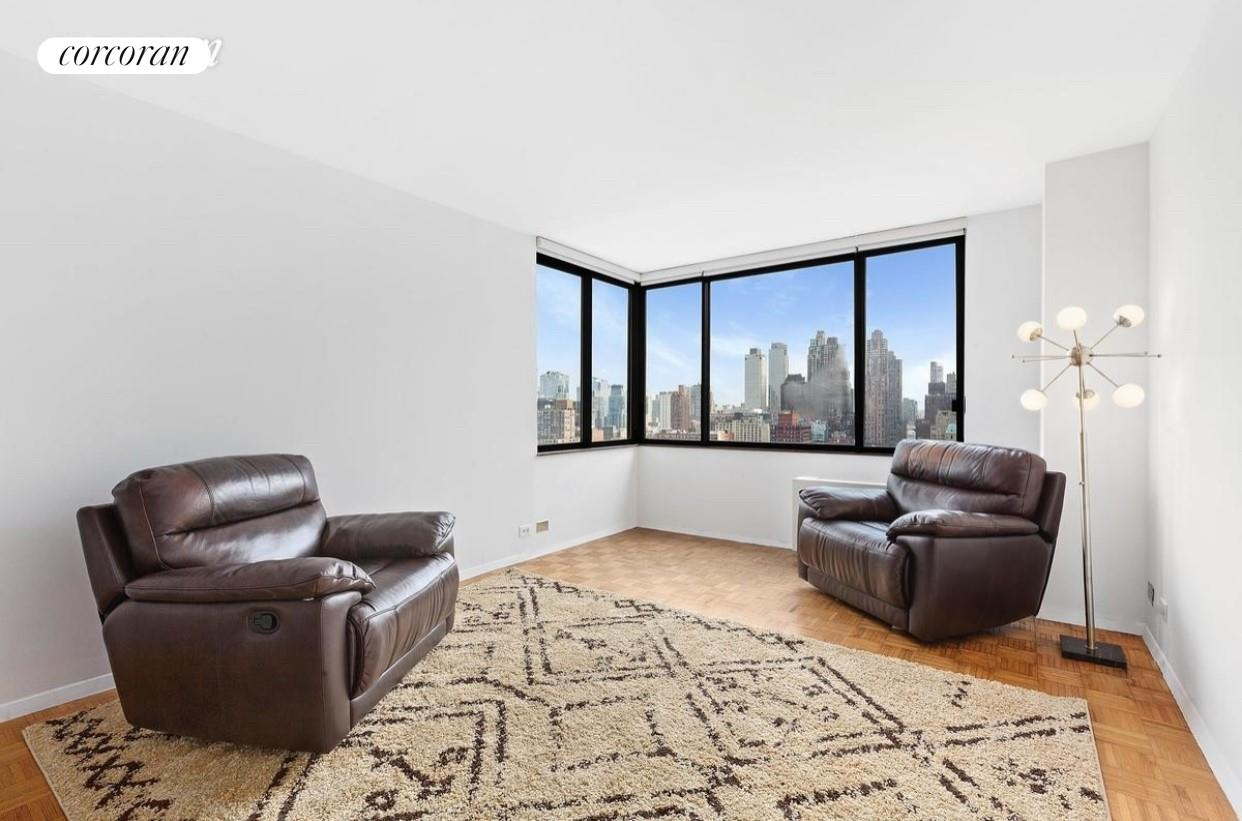 "Residence 25G is a bright corner one bedroom condominium with great open city views to the West and to the North. Pass through kitchen, marble bath and hardwood floors throughout. The building has a live-in Resident Manager and the amenities include 24-hour Concierge, doorman, eight laundry rooms, and a ""Resident's only"" courtyard. Connected to the building is Elite New York Sports Club with 40,000 sq. ft. with the latest technology, 25-meter saltwater pool, sauna, exercise studio and virtual reality spin room with an immersive 30-foot video wall. Monthly and annual memberships available. The Residences at Worldwide Plaza is a full-service condominium ideally located in the heart of the vibrant Manhattan's theater district and the Midtown Financial District, close to Central Park, Lincoln Center, the Hudson River Park, Rockefeller Center, St. Patrick's Cathedral, numerous restaurants, museums and points of interest. The garage on the premises is available to residents for a nominal fee. Minutes to the C, E, 1, W, N, R, B, D, F and M subway lines and cross-town buses."