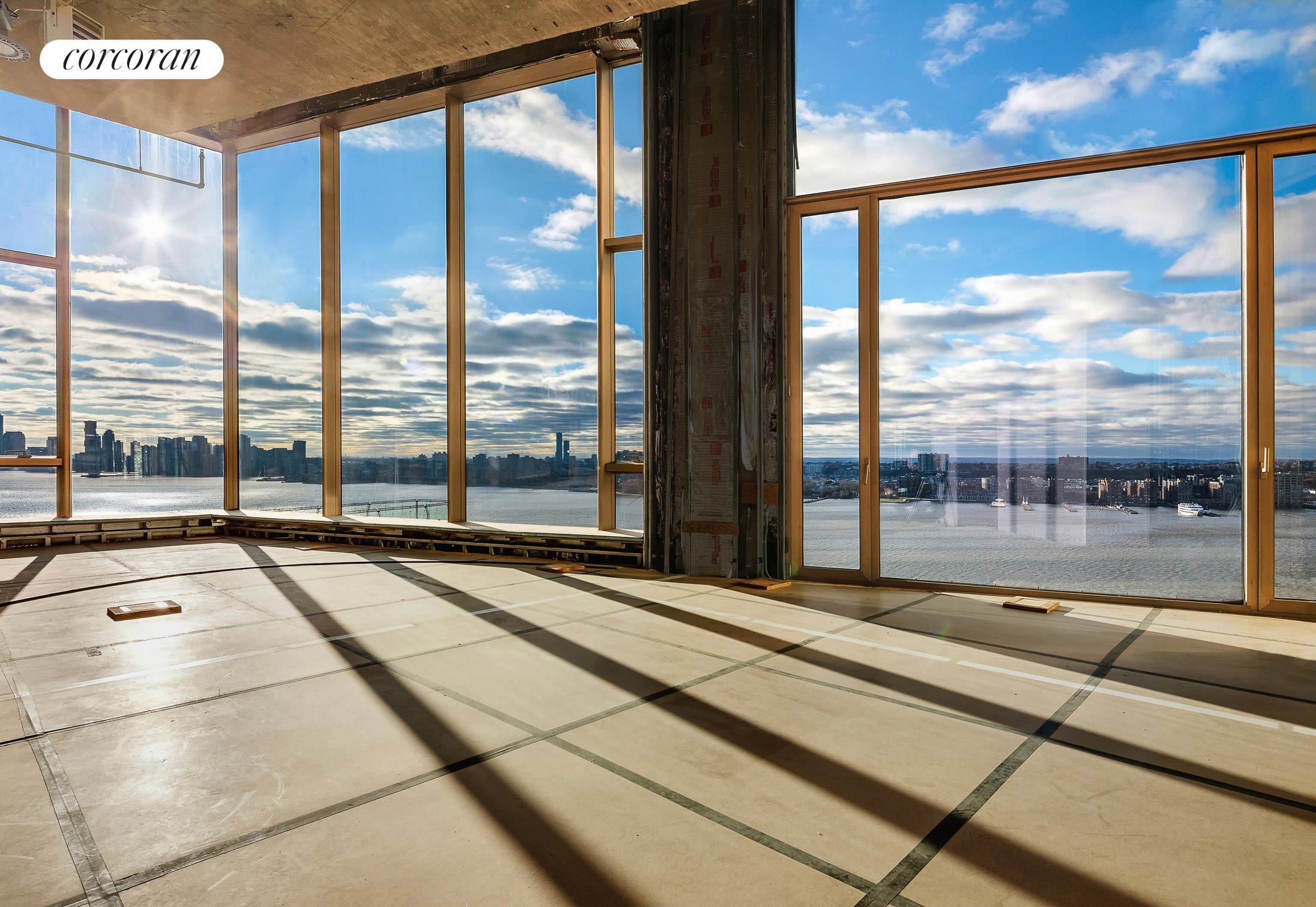 """Exceptional opportunity to conceptualize your very own Chelsea Penthouse with a private rooftop and expansive 360 degree views of the Hudson River, Statue of Liberty, Empire State Building, the George Washington Bridge and the brownstones of Chelsea.  Offered as a """"White Box"""" with multiple detailed floor plans to choose from, one can create anything up to a five-bedroom home atop the renowned 551 West 21st Street. The entertainment-friendly residence features room for expansive living and dining, an eat-in kitchen, a library and den. A double-sided fireplace and separate laundry room can also be accommodated with ease. This incredible home boasts impressive ceiling heights reaching up to 17', and structural slab heights up to 19½'.  In addition to the approximately 6,398 SF interior, there are over 4,579 SF of exterior space. On the main level, two private loggias are accessed through 10' sliding glass doors providing unrivaled views of the city and beyond. The home also includes the building's entire rooftop space and can be exclusively accessed by private elevator or staircase. The unmatched rooftop terrace can be laid out to your design, with a full outdoor kitchen and a sunken 61' private swimming pool (the largest private outdoor pool in New York City); there is also capability for a jacuzzi on the eastern perimeter. An assigned parking spot is included in the sale.  Built in 2015 by Architect Foster + Partners and close to Chelsea Piers, The High Line and Meatpacking district, 551 West 21st Street features 24-hour doorman, concierge, valet service, porter and live in super, fitness center with gym, yoga room, sauna and steam, residents lounge, playroom, media room bike storage and porte cochere."""