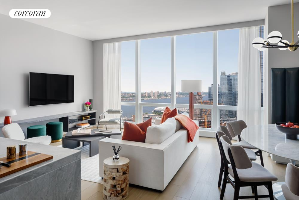 GENEROUS TWO-BEDROOM WITH HUDSON RIVER VIEWS! Available for immediate occupancy, come experience the lifestyle of Hudson Yards' new public square and gardens, destination and everyday shopping, 25 distinct dining opportunities, and cultural center, The Shed.Plaza Residence 25G is an exceptional two bedroom residence of 1,464 square feet with sunset views over the Hudson River. The sun drenched great room features an open kitchen with a distinctive marble island, custom oak wood cabinetry and Miele appliances including wine storage. The master bedroom suite boasts generous closet space and a luxurious master bath with double vanity, oversized shower, soaking tub and river views. The second bedroom with en-suite bath, a gracious entry foyer, and a powder room for guests make this a truly exceptional home.Designed by Diller Scofidio + Renfro in collaboration with Rockwell Group, Fifteen Hudson Yards offers residents over 40,000 square feet of amenities on three floors. Floor 50 has been devoted to the full range of fitness and wellness opportunities, including an aquatics center with a 75-foot long swimming pool, a 3,500 square foot fitness center designed by The Wright Fit, private studio for yoga, stretching and group fitness classes, spa with treatment rooms, and a beauty bar for hair and makeup services. Floor 51 features two corner private dinner suites including wine storage and tasting rooms, lounge with breathtaking Hudson River views, club room with billiards tables, card tables and large-screen TV, a screening room, business center, golf club lounge, and an atelier with communal working table and lounge seating.Occupying a prime position on the Public Square and Gardens at the center of Hudson Yards, 15 Hudson Yards is directly on the High Line and adjacent to The Shed, New York's first arts center to commission new work across the performing arts, visual arts, and popular culture. Here, residents can take advantage of the unique lifestyle that Hudson Yards offers - integrating the finest shopping, dining, arts, culture, fitness and innovation with the highest standards of residential design, services and construction - just moments from West Chelsea's unique combination of art galleries, museums, restaurants, schools and the spectacular Hudson River Park.