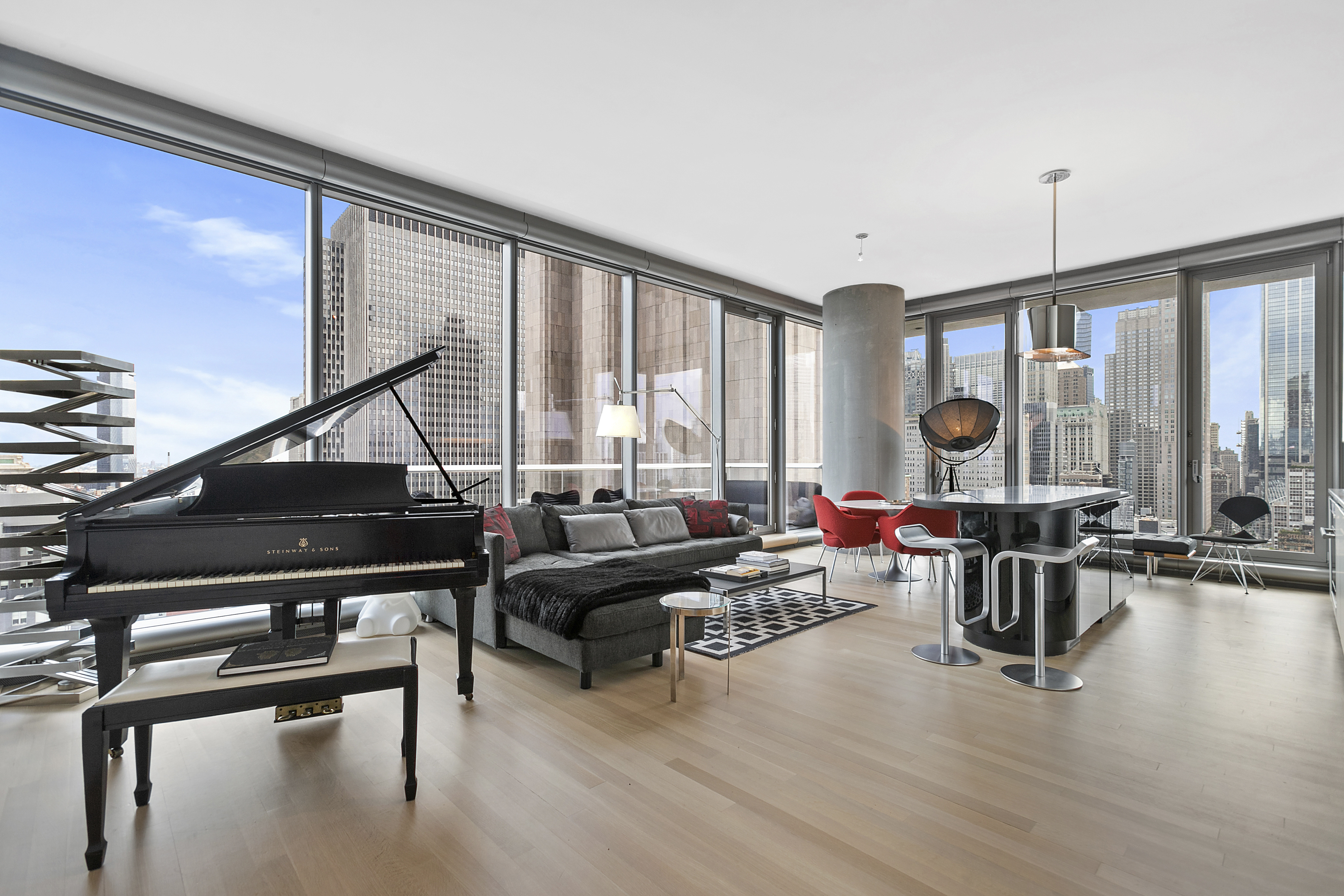 Residence 24B East is the best of comps available with the largest of terraces ( 7' X 24') off great room…plus a second terrace (6' X 14') off the master bedroom. The floor plan indicates a total 1,992 SF (1668 SF Interior / 254 SF Terraces). Gorgeous protected views of stunning Manhattan cityscapes and landmarks including the Chrysler and Citibank Buildings to the North; Manhattan and Williamsburg Bridges to the East; Woolworth Building, World Trade Center and Hudson River to the South and West. Grand entrance foyer and gallery leads to the spacious great room that includes access to an expansive terrace for the enjoyment of sensational sunrises and moonlight. Motorized Electric shades are throughout the apartment (blackout shades in bedrooms)Custom interiors include 11' ceilings with floor to ceiling windows, a sculptural granite kitchen island, Sub-zero and Miele appliances, wine cooler. Five-fixture master bath of travertine marble with radiant heated floors. Appalachian solid White Oak flooring throughout the residence, 4-pipe heating and cooling system for year-round multi-zone climate control.Luxurious furnishings include collections of art and iconic designs by Eero Saarinen, Dieter Rams, Ligne Roset, Knoll, Vitra…and an ebony Steinway Grand Piano, Model L. There are 2 king bed suites.In an unprecedented collaboration between artist and architect, the landmark tower designed by Herzog & de Meuron is seamlessly incorporated at its base with a specially commissioned Anish Kapoor sculpture. Ranked in 2019 among Top 10 Most Prestigious Condos In New York City.