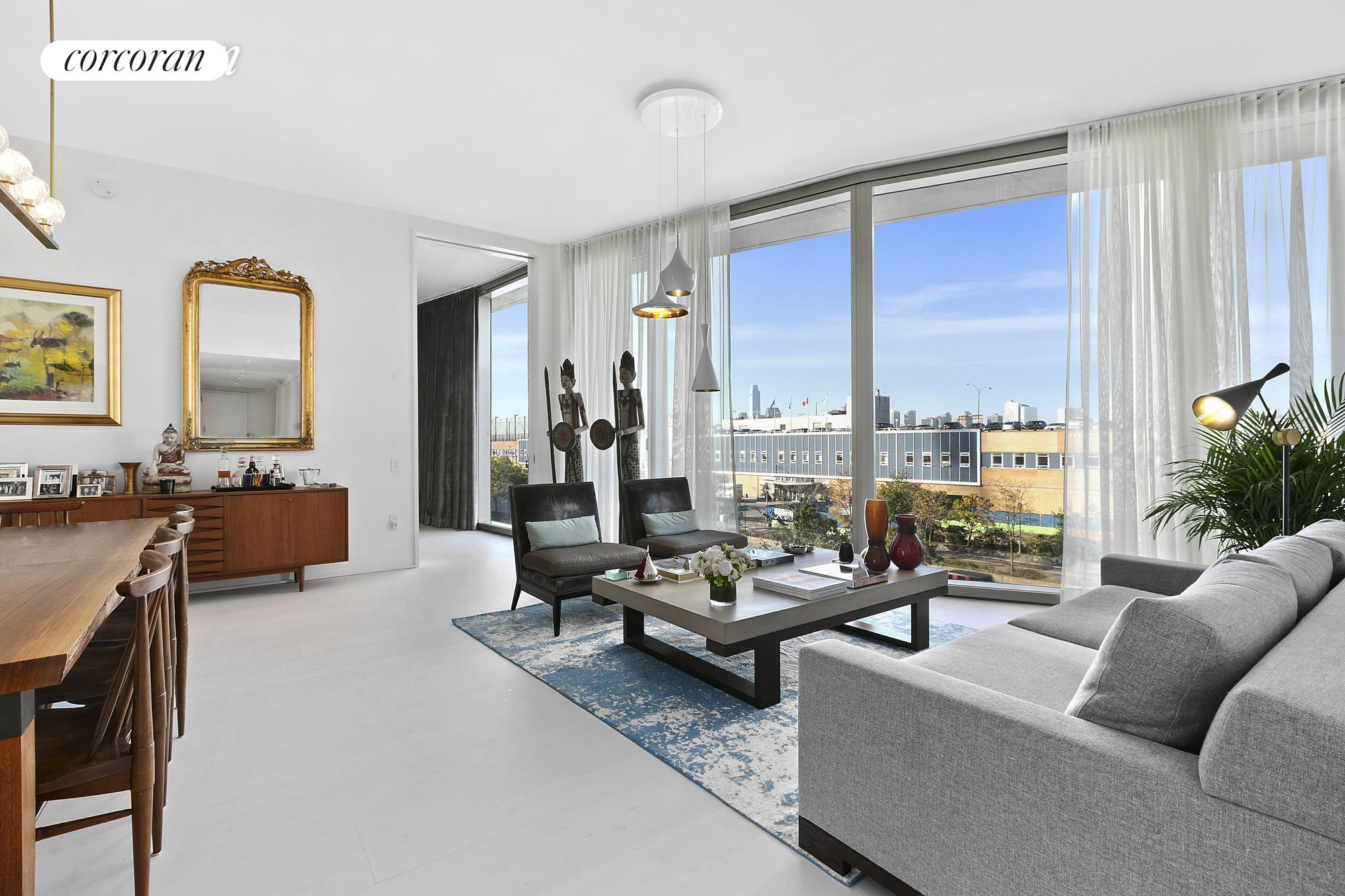 Situated along the Hudson River waterfront in the West Village, this stunning home is the one-of-a-kind, inspired by a collaboration from renowned hotelier/real estate developer, Ian Schrager, and designed by Pritzker Prize winning architects, Herzog & De Meuron.160 Leroy Street North 5A is an approximately 2,046 square foot, 3 bedroom, 3.5 bathroom home with North, West and East exposures with sweeping Hudson River views and Sunsets. This home is beautifully proportioned and perfectly situated in the north tower of the building. Enjoy tons of light and breathtaking views through the 11' floor-to-ceiling windows, and an open floor plan that accommodates gracious living and entertaining while offering an abundance of wall space for art.Thoughtfully designed with two kitchen elements, the top of the line kitchen features Scandinavian Larch wood cabinets, Sivec marble slab countertops and backsplash with appliances by Wolf, Gaggenau, Sub-Zero, and Miele. North 5A includes a separate enclosed Bulthaup Chef's kitchen with Sub-Zero and Wolf appliances including a refrigerator/freezer, wine refrigerator, steam oven, microwave oven, and a coffee/espresso machine.Beyond the Great Room, you will enter the spacious Western facing primary suite with en-suite spa bathroom adorned with Sivec marble, a Kaldewei soaking tub, heated floors, and a custom-designed shower. The second bedroom has stunning views of the garden, and an en-suite bathroom..The 3rd bedroom with en-suite bathroom has the flexibility to convert into a library or media room; with its pocket doors concealed, the space flows into the living space, providing simultaneous East and West exposures.The stunning powder room is clad in floor to ceiling Scandinavian Larch wood with a custom floating vanity and brushed copper fixtures.Ideally located in the heart of the West Village, 160 Leroy is a full-service building with a concierge, a 24-hour doorman, and luxurious amenities, complete with a cobblestone porte-cochere,