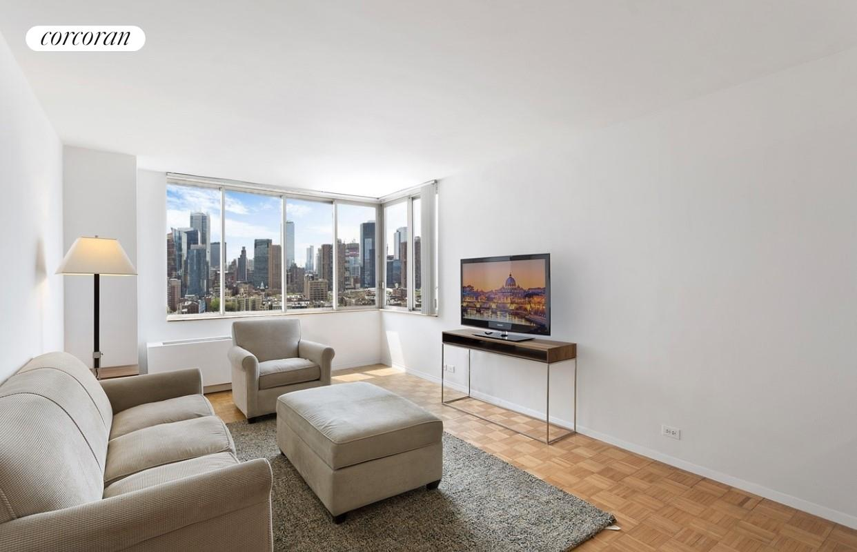 Residence 22D is a sunny corner one bedroom with spectacular unobstructed Southern views of Manhattan and Western views of the Hudson River. A spacious 640 square feet unit of very well utilized space. The apartment features lots of closet space, including   a large walk-in closet plus three additional closets. The pass through kitchen contains stainless steel appliances. The building has a live in Resident Manager and the amenities include 24 hour Concierge, doorman, eight laundry rooms, four roof decks with   beautiful open views and new outdoor furniture, courtyard with tables and new benches. 40,000 sq ft. newest gym TMPL with the latest technology, saltwater pool and sauna is connected to the building. Monthly and annual memberships available. The Residences   at Worldwide Plaza is a full service condominium ideally located in the heart of the vibrant Manhattan's theater district and the Midtown Financial District, close to Central Park, Lincoln Center, the Hudson River Park, Rockefeller Center, St. Patrick's Cathedral,   numerous restaurants, museums and points of interest. The garage on the premises is available to residents for a nominal fee. Minutes to the C, E, 1, W, N, R, B, D, F and M subway lines and cross-town buses. Capital Assessment of $166 per month from 4/1/21   to 9/1/22.