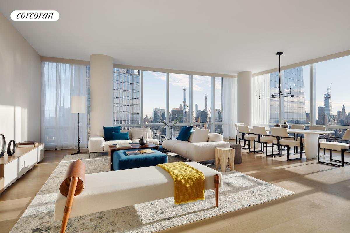 """SIMPLY THE MOST LUXURIOUS TWO-BEDROOM HOME AT HUDSON YARDS! The generous layout (2,497sq. ft./232 sq. m.) features panoramic 180-degree views from the Hudson River to the East River and the amazing skyline in between!  The front door leads into a true gallery over 6'6"""" in width to showcase your art collection. The giant great room with 10'10"""" ceilings features 16 floor-to-ceiling windows with panoramic city and river views and a beautiful open kitchen with incredible marble   island, double ovens and wine storage. The oversized master suite features three closets (including a walk-in and a true dressing room) as well as an oversized master bath with soaking tub and extra large shower. The second bedroom also has river views, an   en-suite bath, and a large walk-in closet. A walk-in laundry room, linen closet and powder room for guests make this a truly special home.  Designed by Diller Scofidio + Renfro in collaboration with Rockwell Group, Fifteen Hudson Yards offers residents over 40,000 square feet of amenities on three floors. Floor 50 has been devoted to the full range of fitness and wellness opportunities, including   an aquatics center with a 75-foot long swimming pool, a 3,500 square foot fitness center designed by The Wright Fit, private studio for yoga, stretching and group fitness classes, spa with treatment rooms, and a beauty bar for hair and makeup services. Floor   51 features two corner private dinner suites including wine storage and tasting rooms, lounge with breathtaking Hudson River views, club room with billiards tables, card tables and large-screen TV, a screening room, business center, golf club lounge, and an   atelier with communal working table and lounge seating.   Occupying a prime position on the Public Square and Gardens at the center of Hudson Yards, 15 Hudson Yards is directly on the High Line and adjacent to The Shed, New York's first arts center to commission new work across the performing arts, visual arts, and   popular culture. H"""