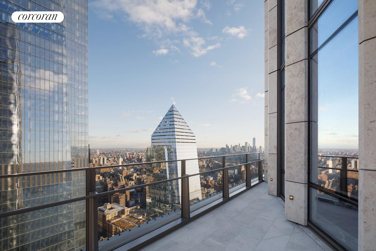 """LIVE WHERE IT ALL COMES TOGETHER 35 Hudson Yards, the tallest residential building at Hudson Yards, was designed by David Childs/SOM featuring a beautiful facade of Bavarian limestone, while the residences- which start on the 53rd floor- feature interiors by AD100 designer Tony Ingrao. Residents will have access to the ultimate lifestyle including services and benefits unique to Hudson Yards. Just an elevator ride away, the building will feature a flagship Equinox Club with indoor and outdoor swimming pools, SoulCycle , Equinox Spa and the first of its kind Equinox Hotel. Three on-premises restaurants will offer incredible cuisine and in-residence dining. In addition, residents will have a full suite of private amenities, including a residents-only fitness center, playroom, business center and board rooms, lounge, game room, dining room, and grand terrace with catering services overlooking the Hudson River.GRACIOUS HIGH-FLOOR THREE BEDROOM DUPLEX WITH TERRACE OVERLOOKING NEW YORK CITYS SKYLINE. This expertly planned split three bedroom residence boasts 1010"""" ceilings, lavish satin finish wide plank French oak floors, and stunning views of the Hudson River. In addition to the views, the corner Great Room also features a 203SF private terrace! The windowed eat-in kitchen has been outfitted with luxurious Smallbone of Devizes cabinetry with opal white marble counters and backsplash. Full suite of Gaggenau appliances, inclusive of a wine fridge and coffee maker, truly make this kitchen extraordinary. The master bedroom boasts a large walk-in closet and a luxurious windowed master bathroom which is wrapped in stunning iceberg quartzite, complete with stunning double vanity with Kinon panels, and full depth soaking tub. The second and third bedrooms are both equipped with en-suite baths. The side-by-side Washer/Dryer and handsome onyx- clad Powder Room are both conveniently located off the main hallway. No detail was overlooked in this truly exquisite home. Located on a v"""