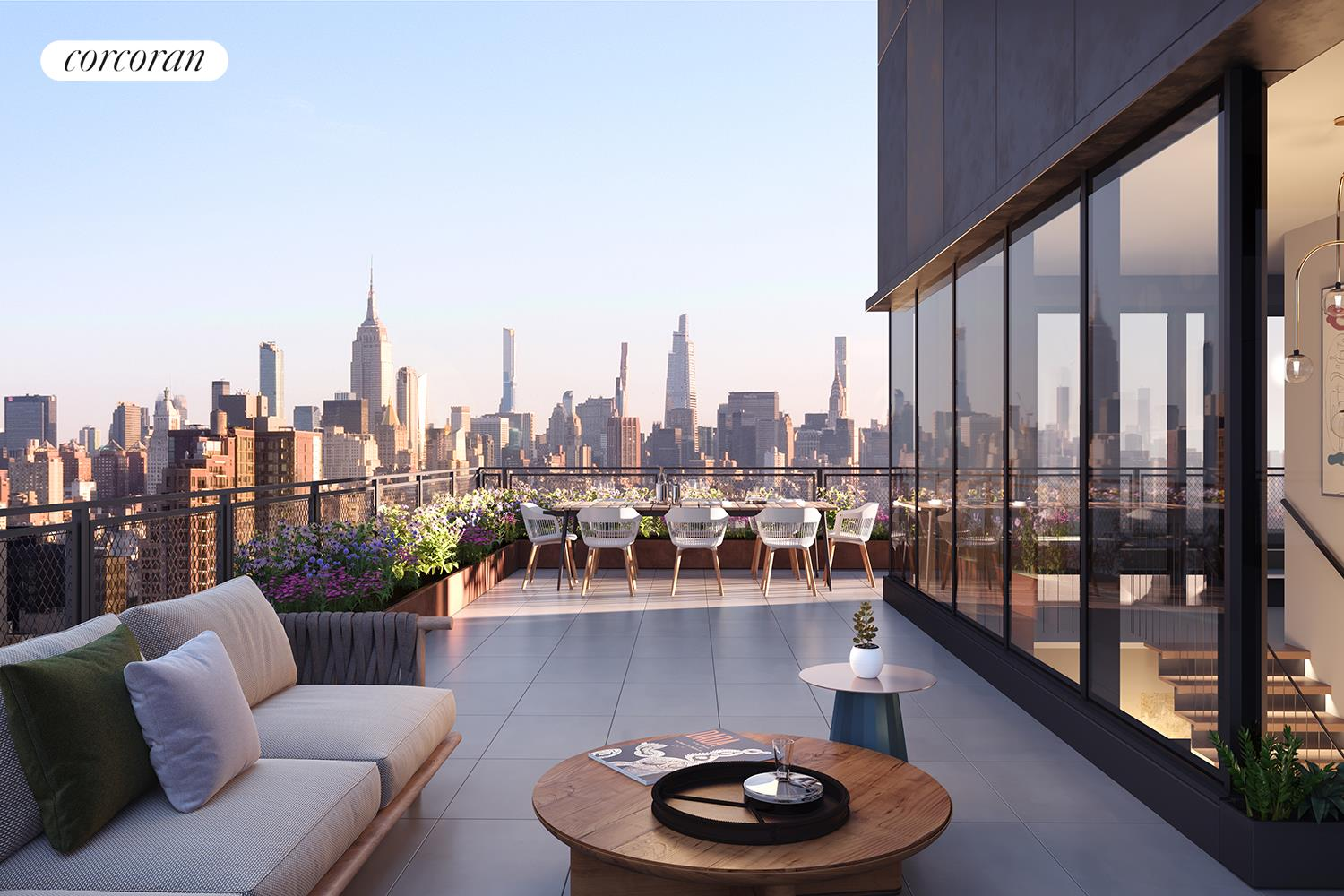 IMMINENT OCCUPANCY - PRIME NORTHWEST CORNER 3 BED/3.5 BATH PENTHOUSE WITH SPECTACULAR MIDTOWN AND FIDI VIEWSWrapping the northwest corner of One Essex Crossing, Penthouse A is the premier duplex Penthouse offering 2,161 SF and featuring fantastic views overlooking the Lower East Side, Midtown Skyline and Financial District.Penthouse A features a corner Great Room with western sunset views over Downtown Manhattan as well as panoramic city views north to the Empire State Building. An architectural staircase from the Great Room leads to a private 733 SF wraparound roof terrace. With ceilings of approximately 10', this CetraRuddy-designed home features wide plank European Oak flooring, a highly customized open kitchen with One Essex Crossing's noteworthy signature mesh storage cabinet incorporated into the backsplash, imported Italian cabinetry, and honed Dolomiti marble on the countertops and waterfall. A suite of professional Miele appliances includes a fully vented hood.The luxe Master Suite also enjoys stunning Midtown views, with a large bedroom; a generous walk-in closet; and a five-fixture master bathroom featuring a freestanding bathtub; Calacatta Lincoln marble walls, floors, and vanity countertop; radiant heated flooring; and a custom-designed medicine cabinet with a black metal frame and illuminated glass shelves.Two additional bedroom suites with Bianco Cararra marble-clad bathrooms and ample closets, a beautiful Romboo Nublado powder room for guests and a Miele washer/dryer complete this one-of-a-kind penthouse.One Essex Crossing offers residents a complete indoor/outdoor lifestyle package that connects to the heart of this beloved neighborhood. On the sixth floor two glass-walled amenity peninsulas are situated around The Garden, an over 9,000 square-foot landscaped terrace with spaces for lounging, grilling, outdoor exercise, and recreation. Residents can enjoy The Sun Room, The Fitness Studio, both with garden views, and The Playroom, all thoughtfully de
