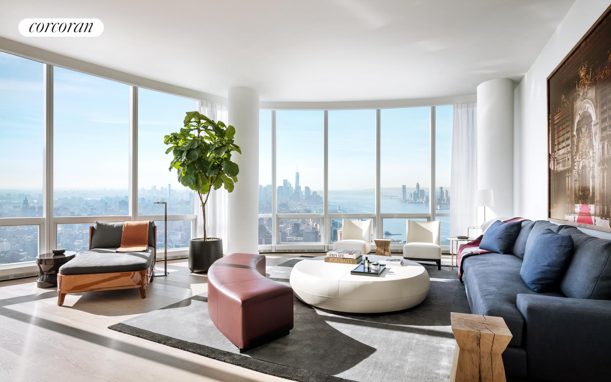 """GRAND AND DRAMATIC FOUR-BEDROOM PENTHOUSE WITH SPECTACULAR RIVER AND CITY VIEWS!    This is one of the last remaining penthouses on the coveted southeast corner of Fifteen Hudson Yards, where the views for miles extend past the Hudson River, Statue of Liberty, Freedom Tower and East River bridges to include, on a clear day, the Atlantic Ocean!    From the moment you open the door to the wide art foyer, you are stunned by the wide open vistas. The giant great room with ceilings up to 10'10"""" and 13 floor-to-ceiling windows frame unforgettable Hudson River and Manhattan skyline views. The separate eat-in   kitchen features a grand marble island, Bulthaup cabinetry with large pantry and Miele appliances including double ovens and wine storage, with a comfortable breakfast room for casual dining. The master suite enjoys southerly river views, a windowed bathroom   with soaking tub and large shower and generous closets (four in total). Three additional bedroom suites enjoy en-suite baths while the walk-in laundry room, service entrance and closets galore make this a truly special home!    Designed by Diller Scofidio + Renfro in collaboration with Rockwell Group, Fifteen Hudson Yards offers residents over 40,000 square feet of amenities on three floors. Floor 50 has been devoted to the full range of fitness and wellness opportunities, including   an aquatics center with a 75-foot long swimming pool, a 3,500 square foot fitness center designed by The Wright Fit, private studio for yoga, stretching and group fitness classes, spa with treatment rooms, and a beauty bar for hair and makeup services. Floor   51 features two corner private dinner suites including wine storage and tasting rooms, lounge with breathtaking Hudson River views, club room with billiards tables, card tables and large-screen TV, a screening room, business center, golf club lounge, and an   atelier with communal working table and lounge seating.     Occupying a prime position on the Public Square and Garde"""
