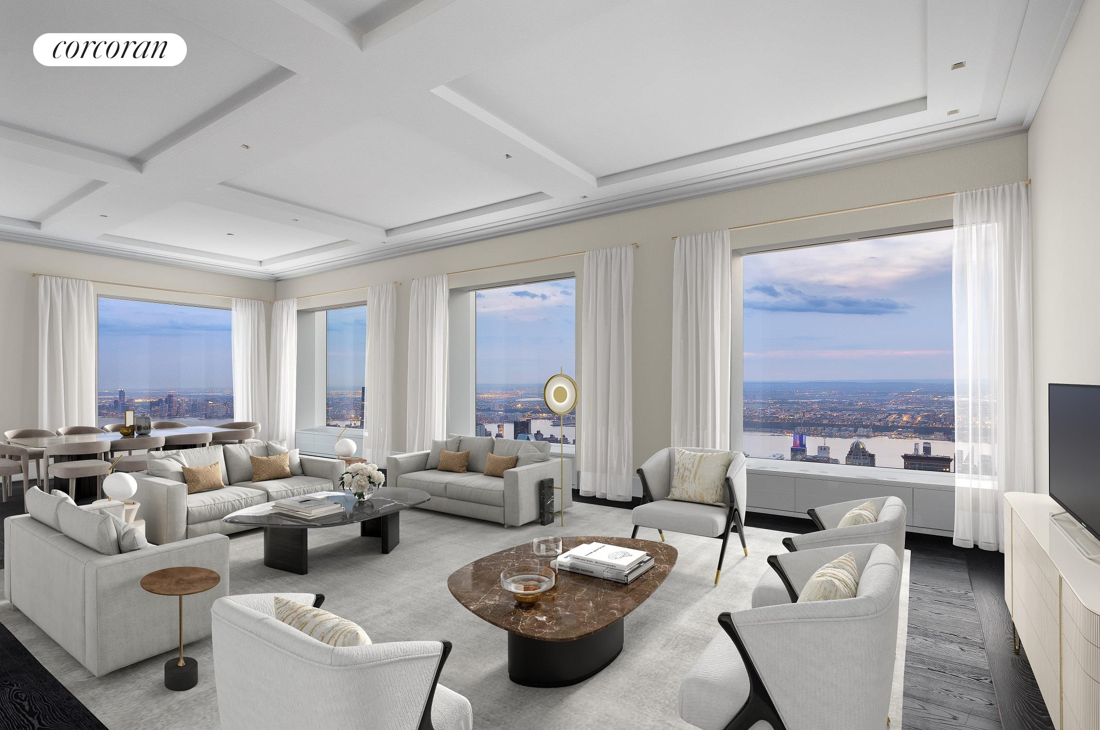 """Penthouse 82 at 432 Park AvenueImpeccably Designed and Brand New Full Floor PenthouseVirtually Staged Photography Five Bedrooms / Six Baths / Two Powder Rooms / 8,054 sqftPenthouse 82 at 432 Park Avenue is an extraordinary full-floor residence offering a perfect balance of space, privacy, dramatic views, and design.Soaring at an impressive elevation of over 1,100 feet above Park Avenue in the middle of Manhattan, this residence features iconic and awe-inspiring 360-degree views from the Hudson River to the Atlantic Ocean, Central Park, and skyline.Meticulously designed this brand new full-floor penthouse is the result of a multimillion-dollar renovation by NJ Caine Architects in which two residences were combined to seamlessly create a breathtaking display of scale and proportion measuring over 8,000 sqft with beautiful views perfectly framed by 432 Park Avenue's iconic 10' x 10' windows and ceilings measuring up to 12'-9"""" throughout.Welcomed by a private elevator landing leading to an intimate foyer and spectacular great room with over 1,000 sqft of entertaining space with southern and western exposures boasting stunning direct views of the skyline.The southern wing of this full-floor penthouse features a beautiful great room for entertaining with an expansive chef's kitchen with a separate pantry, custom millwork, an appliance package by Gaggenau and Miele, exquisite stone surfaces throughout, and window framed breakfast bar with direct access to a discreet hall leading to service entrances, perfect for catering and entertaining. Adjacent to the kitchen is a staff office and laundry room.The southeastern corner of this penthouse features a full guest suite with a stunning freestanding deep soaking tub, marble surfaces, custom millwork, and radiant-heated floors.The eastern wing features a total of three bedrooms each with an en-suite bath and separate space for a fitness studio or library. An impressive lounge/media room occupies the entire northeastern corner wit"""