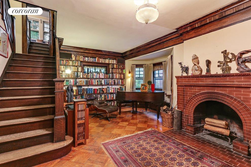 New York City Real Estate | View 633 East 19th Street | Unique wood burning fp + bay window + center stair