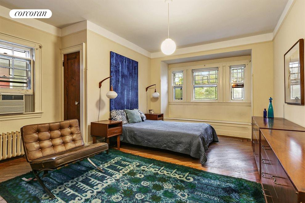 New York City Real Estate | View 633 East 19th Street | Master bedroom w/window seat + 1/2 bath