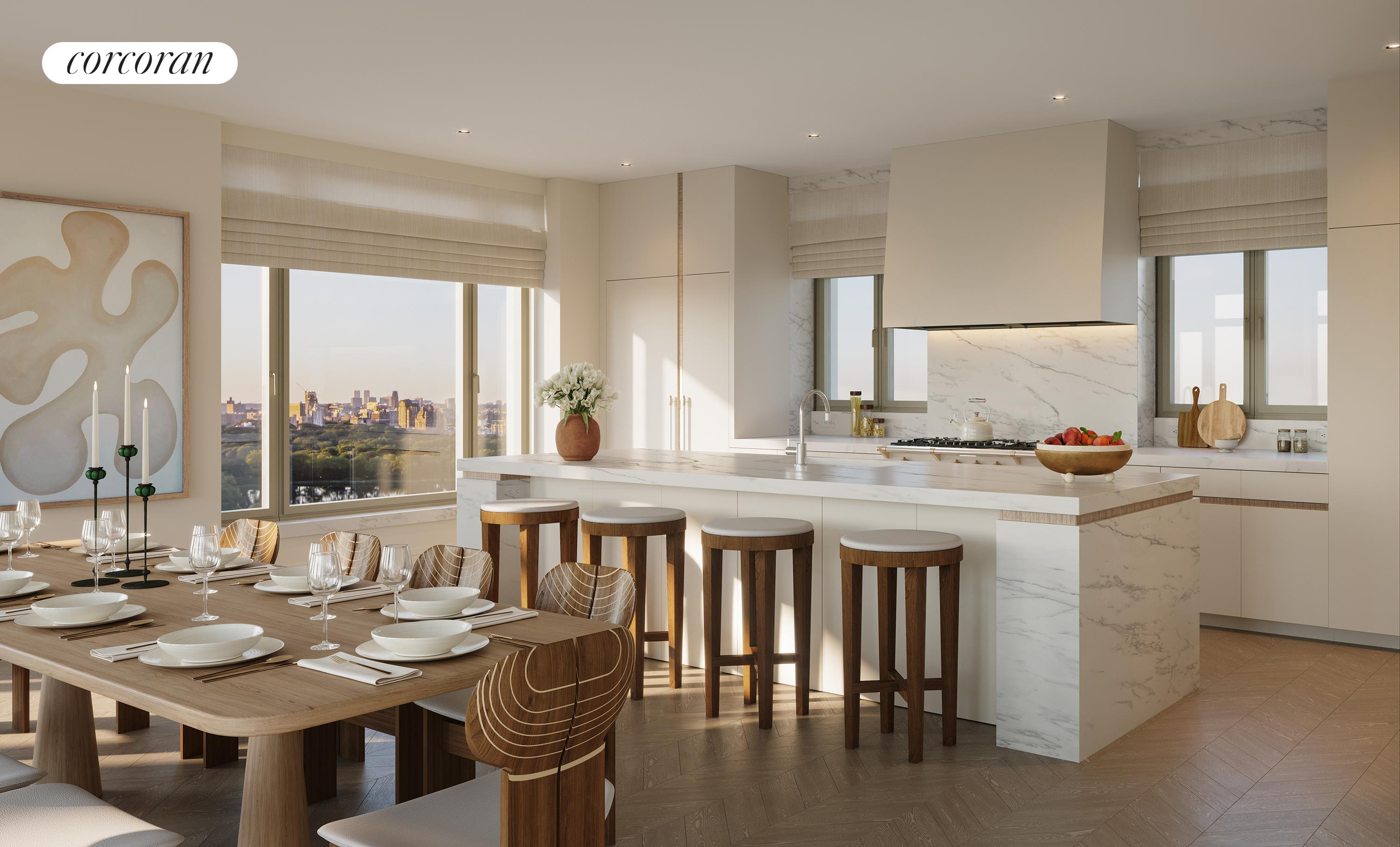"""Co-op with Condominium Rules.Last Home with Central Park Views!4% Commission through November 25, 2021!The Twelfth Floor at 1228 Madison Avenue is a 3 bedroom/3.5 bath full-floor home, spanning 3,476 Sq. Ft. (323 Sq. M.) with north, east, south and west exposures, and views of Central Park and the Jacqueline Kennedy Onassis Reservoir. The elegant elevator vestibule leads to the dramatic 8' white oak entry door, and opens into an entry foyer with custom stained white oak floor in a chevron pattern. The chevron pattern continues through the living spaces of the residence, leading to the gracious corner great room, bathed in natural light from oversized windows that look out onto Central Park. The sunny eat-in kitchen features white matte lacquer Molteni cabinetry with white oak tambour detail, and honed Calacatta Estremoz slab countertops, backsplash and island with seating for four, as well as a full-height pantry. The kitchen is fully-equipped with a Lacanche 7-burner range, a suite of Wolf, Miele and Sub-Zero appliances, and a wine refrigerator.Beyond the living spaces, 7"""" white oak plank flooring runs throughout the bedroom wing. The spacious master bedroom suite features two oversized closets and north, east, and south exposures, offering abundant light and open views up and down Madison Avenue. The windowed 5-fixture master bath features a freestanding tub and is luxuriously finished with Bianco Oro marble slab walls with matching marble floor tiles and radiant heat, millwork vanity with limed oak finish, custom-designed medicine cabinet and wall sconces by Kelly Behun Studio, and burnished nickel fixtures by Waterworks throughout.The secondary bedrooms feature oversized closets and en-suite baths with the elegant combination of honed Calacatta marble floor tile with radiant heat, white matte lacquer vanities with custom medicine cabinet above, polished nickel fixtures by Waterworks, and either a stall shower clad in honed Calacatta marble wall tile or a soaking"""
