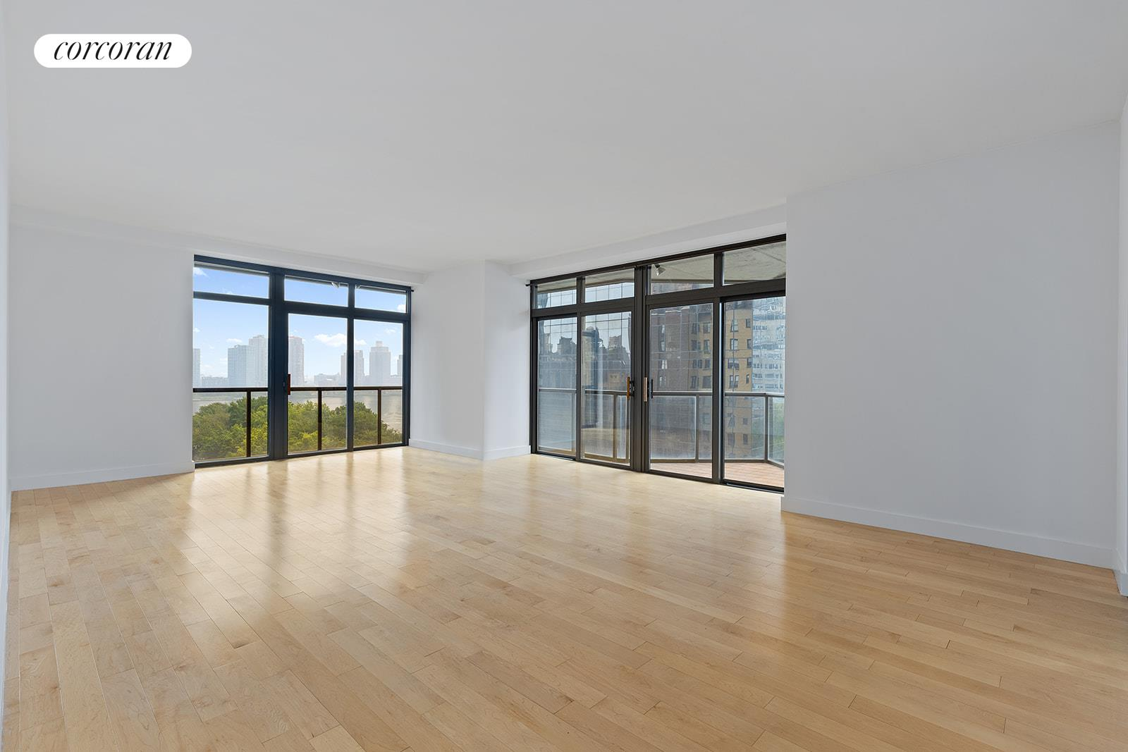 Enjoy beautiful East River and southern skyline views from this renovated, 14th floor 2 bedroom, 2.5 bathroom with wrap balcony now offered for rent at 100 United Nations Plaza - one of Midtown East's premier, white-glove condominiums.Offering a split bedroom layout and 1,324 square feet of interior living space, apartment 14B boasts a renovated kitchen and powder room, hardwood floors and a 154 square foot private wrap-around balcony. Pass through the inviting foyer into the sunlit corner living and dining room to take in the beautiful backdrop of city and river views from its floor-to-ceiling windows and private wrap balcony. Spacious enough for separate living and dining areas for easy entertaining.The adjacent windowed kitchen has been completely renovated and features white, solid wood cabinetry, Caesarstone countertops, subway tile backsplash and a suite of Whirlpool stainless steel appliances.The generous primary suite is the perfect retreat for the end of a long day. Comfortably accommodating a king size bed along with additional furnishings, it offers three large closets one of which is a walk-in and an en suite marble bathroom with an extra-large vanity and soaking bathtub.Pin-drop quiet, the second bedroom has with an eastern exposure along with its own en suite marble bathroom. In addition, this fantastic unit has central heat and A/C and a renovated powder room with a pedestal sink and marble tile.Located on East 48th Street and First Avenue, 100 United Nations Plaza is a white-glove, full service condominium in Manhattan's Turtle Bay neighborhood. Greeting residents with beautifully landscaped gardens and waterfalls, this impeccably run building offers a 24-hour doorman, valet and concierge service, on-site management office, renovated lobby and resident's lounge, common laundry room, fitness center and direct access to a parking garage. Conveniently located to transportation and many great shops and restaurants.Condominium application required. Showin