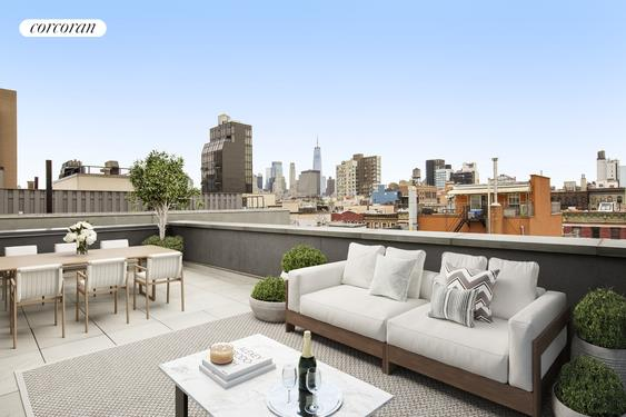 """Perfectly positioned in the heart of the Lower East Side, 147 Ludlow comprises an exquisitely designed and executed collection of 8 luxury lofts in a prime downtown location. Conceived of and built by Grid with design by DHD, 147 Ludlow demonstrates once again the meticulous craftsmanship and attention to detail as Grid's previous record-breaking developments including 124 West 16th Street and 134 West 83rd Street.Crowning the building and spanning 2,356 interior square feet with 37 feet of frontage, a balcony, and a private terrace, The Penthouse is a spectacular 4-bedroom, 3.5 bath loft-like home offering unparalleled industrial luxury.Balancing quality, aesthetics, and functionality, 147 Ludlow offers floor plans befitting all lifestyles. All homes boast 9'6"""" ceilings, 5"""" rift and quartered white oak floors, and the highest quality oversized European casement tilt and turn windows, allowing natural light to fill the voluminous living spaces within while providing maximum sound attenuation. All homes include gracious and private outdoor terraces built for both entertaining and relaxing, optimizing the open sky and architectural views of the LES.The kitchen is crafted with light grey oak custom Italian cabinetry offset by Grey Velvet marble and Arctic white Quartzmaster countertops that are echoed by Arctic white Quartzmaster backsplash slabs. Professional appliances, including Fischer Paykel refrigerators, cooktops, and ovens, Hansgrohe faucets, and stainless steel vented range hoods, complete the kitchen. Bathrooms exude luxury, with Zuma soaking tubs, Bianco Dolomite and Grey Velvet marble floors, and custom Grey Velvet slab tub decks in select residences. Bianco Dolimiti marble, Hansgrohe fixtures, VIGO shower doors, and marble floors are also found throughout every residence.Each bespoke home boasts central A/C, fully vented top-of-the-line washer/ dryers, complete with a dedicated storage room in the basement.Moments to New York institutions such as Katz's De"""
