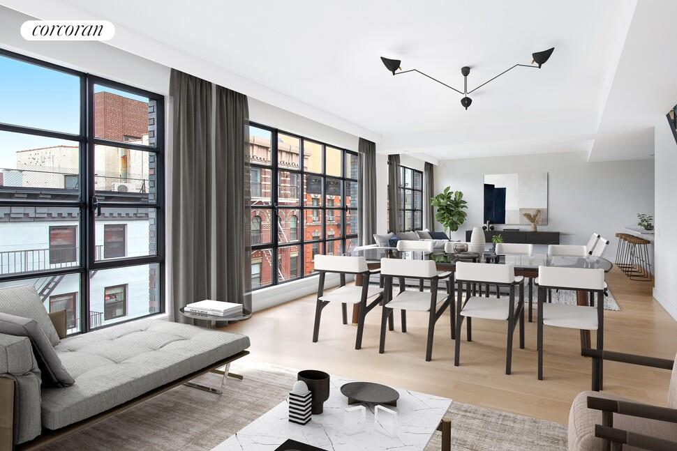 """Perfectly positioned in the heart of the Lower East Side, 147 Ludlow comprises an exquisitely designed and executed collection of 8 luxury lofts in a prime downtown location. Conceived of and built by Grid with design by DHD, 147 Ludlow demonstrates once again the meticulous craftsmanship and attention to detail as Grid's previous record-breaking developments including 124 West 16th Street and 134 West 83rd Street.Residence 2 is a full floor 3- bedroom, 2.5-bathroom loft spanning 1930 interior square feet and an enormous 544 square foot terrace. This home has a dedicated 53 square foot storage room.Balancing quality, aesthetics, and functionality, 147 Ludlow offers floor plans befitting all lifestyles. All homes boast 9'6"""" ceilings, 5"""" rift and quartered white oak floors, and the highest quality oversized European casement tilt and turn windows, allowing natural light to fill the voluminous living spaces within while providing maximum sound attenuation. All homes include gracious and private outdoor terraces built for both entertaining and relaxing, optimizing the open sky and architectural views of the LES.Kitchens are crafted with light grey oak custom Italian cabinetry offset by Grey Velvet marble and Arctic white Quartzmaster countertops that are echoed by Arctic white Quartzmaster backsplash slabs. Professional appliances, including Fischer Paykel refrigerators, cooktops, and ovens, Hansgrohe faucets, and stainless steel vented range hoods, complete the kitchen. Bathrooms exude luxury, with Zuma soaking tubs, Bianco Dolomite and Grey Velvet marble floors, and custom Grey Velvet slab tub decks in select residences. Bianco Dolimiti marble, Hansgrohe fixtures, VIGO shower doors, and marble floors are also found throughout every residence.Each bespoke home boasts central A/C, fully vented top-of-the-line washer/ dryers, complete with a dedicated storage room in the basement.Moments to New York institutions such as Katz's Delicatessen and Russ & Daughters, alongside"""