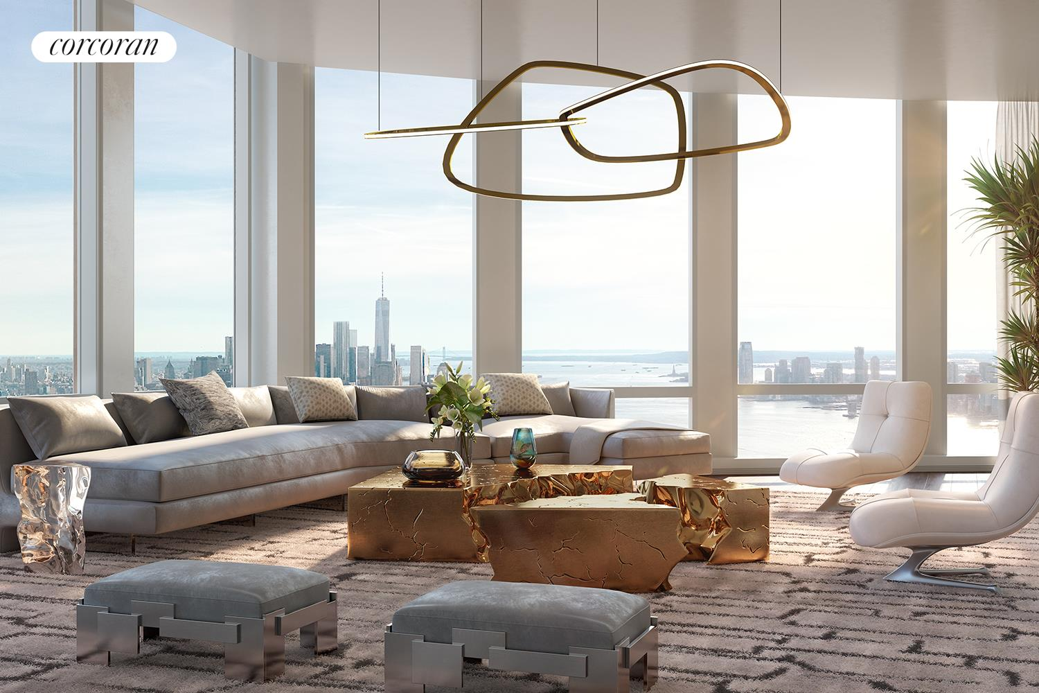 """LIVE WHERE IT ALL COMES TOGETHER35 Hudson Yards, the tallest residential building at Hudson Yards, was designed by David Childs/SOM featuring a beautiful facade of Bavarian limestone, while the residences- which start on the 53rd floor- feature interiors by AD100 designer Tony Ingrao. Residents will have access to the ultimate lifestyle including services and benefits unique to Hudson Yards. Just an elevator ride away, the building will feature a flagship Equinox Club with indoor and outdoor swimming pools, SoulCycle , Equinox Spa and the first of its kind Equinox Hotel. Three on-premises restaurants will offer incredible cuisine and in-residence dining. In addition, residents will have a full suite of private amenities, including a residents-only fitness center, playroom, business center and board rooms, lounge, game room, dining room, and grand terrace with catering services overlooking the Hudson River.EXPERIENCE SWEEPING VIEWS OF THE HUDSON RIVER FROM THIS EXPANSIVE FIVE BEDROOM HOME SPANNING THE ENTIRE SOUTHERN FACADE OF THE BUILDING. Enter this spectacular five bedroom residence through grand double-doors and enjoy the 10'10"""" ceilings, lavish satin finish wide plank French oak floors, massive south-facing Great Room, formal Dining Room, and stunning views of the Hudson River from every room. The windowed eat-in kitchen has been outfitted with luxurious Smallbone of Devizes cabinetry with opal white marble counters and backsplash. Full suite of Gaggenau appliances, inclusive of a wine fridge and coffee maker, truly make this kitchen extraordinary. The corner master bedroom boasts a dressing room and wet bar, and a luxurious windowed master bathroom which is wrapped in stunning iceberg quartzite, complete with stunning double vanity with Kinon panels, and full depth soaking tub. The other bedrooms are all equipped with en-suite baths. The utility room, with side-by-side Washer/Dryer, and handsome onyx- clad Powder Room are both conveniently located off the Great"""