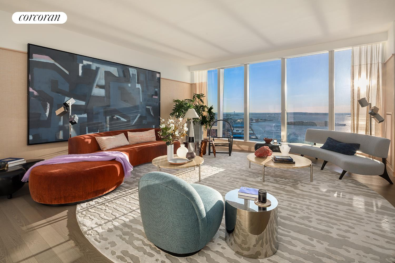 ONE MANHATTAN SQUARE OFFERS ONE OF THE LAST 20-YEAR TAX ABATEMENTS AVAILABLE IN NEW YORK CITY  The Skyscape Collection, featuring Residence 66J, is a home in the sky.  This generous 2,347 square foot triple exposure 3 bedroom, 3.5 bath residence is designed by Meyer Davis and features 270 degree views of the Lower East Waterfront, New York Harbor, Financial District and Midtown Manhattan.  Astonishing panoramic views from South West and North West corner living room and dining room.  Windowed gourmet kitchen with a breakfast bar, pantry closet, premium Miele and Subzero appliance package with a double oven plus speed oven, built-in whole-bean coffee system, wine fridge, dishwasher and externally fully vented kitchen hood.  Corner Master Bedroom suite with side-by-side walk-in closets, luxuriously appointed windowed 5 fixture ensuite bath with a steam shower, Wetstyle soaking bathtub with custom stone surround, radiant floor heating and a separate water closet.  The second and third bedrooms are thoughtfully appointed with en-suite baths with imported stone and custom finishes.  This residence comes equipped with a side-by-side, fully vented washer and dryer.  A gorgeous powder room with a Boffi pedestal sink and Covelano marble polished stone accent wall and floors completes this magnificent home.    New York's premier development company Extell, has collaborated with a team of world-class talent to create an icon that reflects the quality, choice and excellence that distinguish Extell properties- One Manhattan Square.  Perfectly situated along the Lower East Side Waterfront, this 800-foot-tall striking glass tower offers one to three-bedroom condominium residences that feature epic river and skyline views and a lifestyle enhanced by over 100,000 square feet of indoor and outdoor amenities. One Manhattan Square presents the most valuable waterfront living opportunity in Manhattan with one of the last available 20-year tax abatement in New York City.  Meyer Davis, th